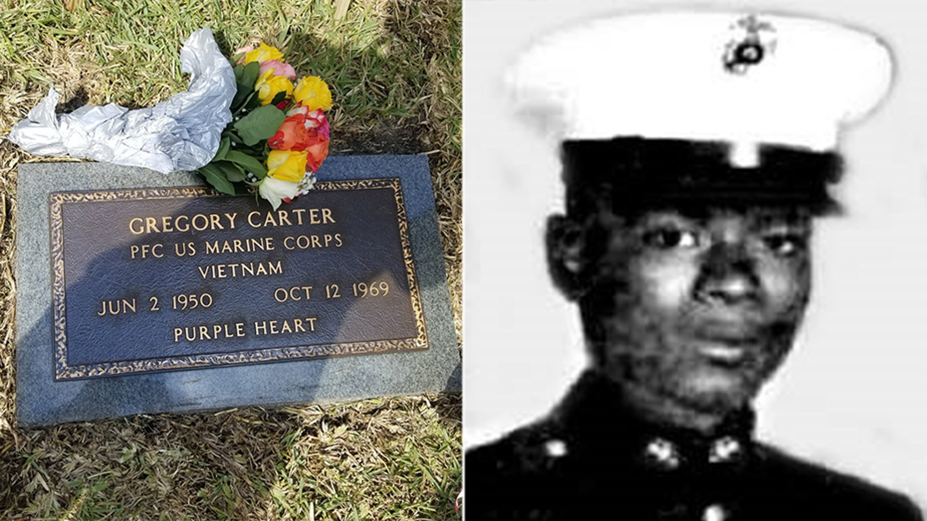 Fort Lauderdale dedicated a bronze grave marker Saturday for native son Gregory Carter who was killed in action in Vietnam after joining the Marines and whose burial spot was unmarked for 50 years.