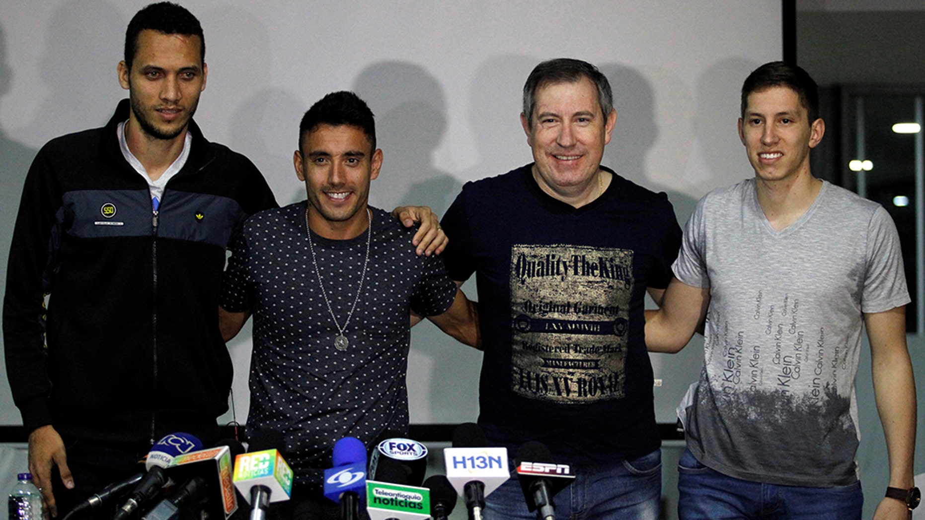 "Footballers of the Brazilian Chapecoense (L to R) Helio Neto, Alan Ruschel and Jakson Follman and survivor journalist Rafael Henzel, survivors of the team's plane crash, pose at their press conference on their arrival in Medellin, Colombia, on 8 May , 201<div class=""e3lan e3lan-in-post1""><script async src=""//pagead2.googlesyndication.com/pagead/js/adsbygoogle.js""></script>