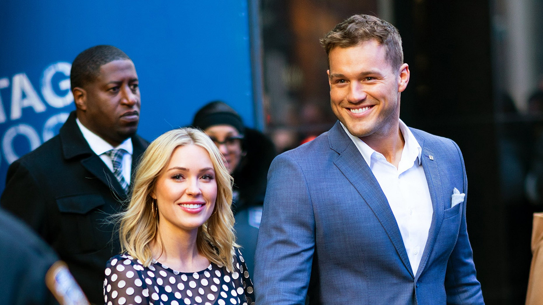 """Bachelor Colton Underwood and Cassie Randolph at """"GMA"""" on Wednesday morning."""