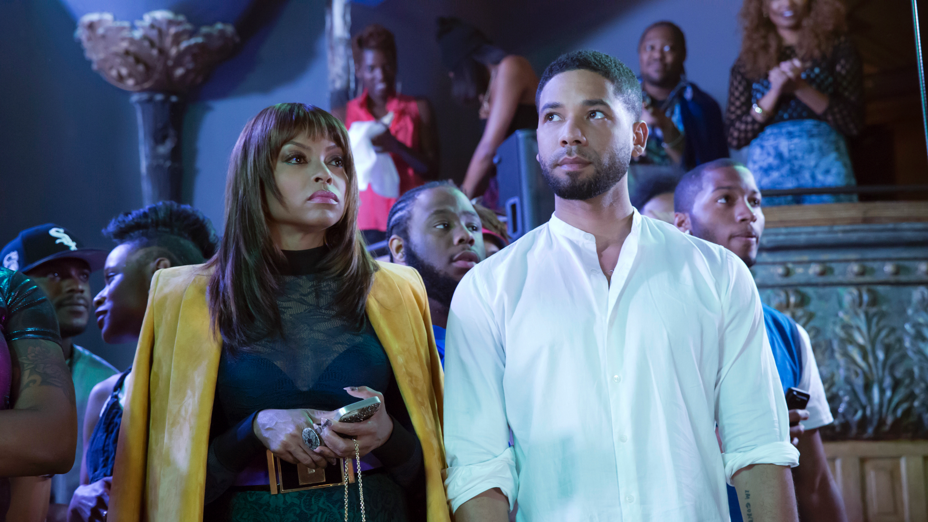 """This photo provided by Fox shows, Taraji P. Henson, left, as Cookie Lyon and Jussie Smollett as Jamal Lyon in the """"My Bad Parts"""" episode of the television series, """"Empire."""""""