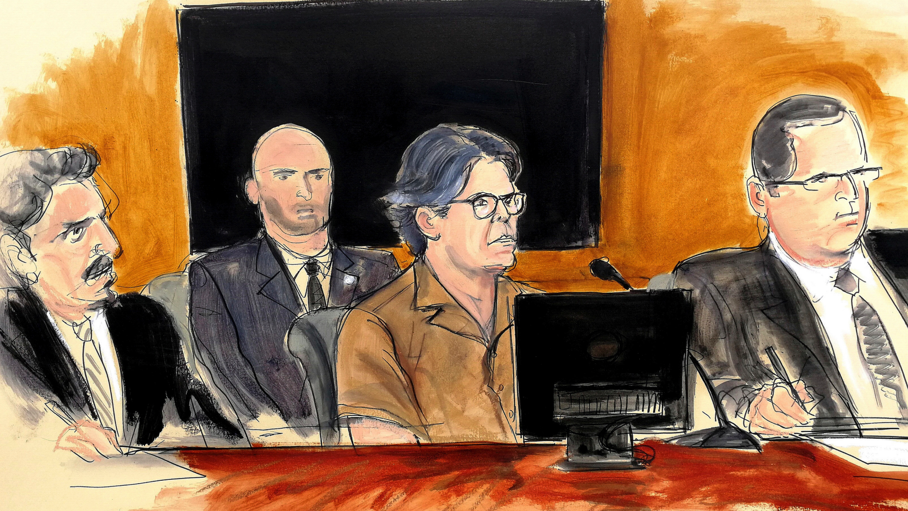 FILE- In this April 13, 2018 courtroom sketch Keith Raniere, second from right, leader of the secretive group NXIVM, attends a court hearing in the Brooklyn borough of New York. The spiritual leader of an upstate New York self-help group has pleaded not guilty on Monday, March 18, 2019 to new charges accusing him of possessing child pornography. (Elizabeth Williams via AP, File)