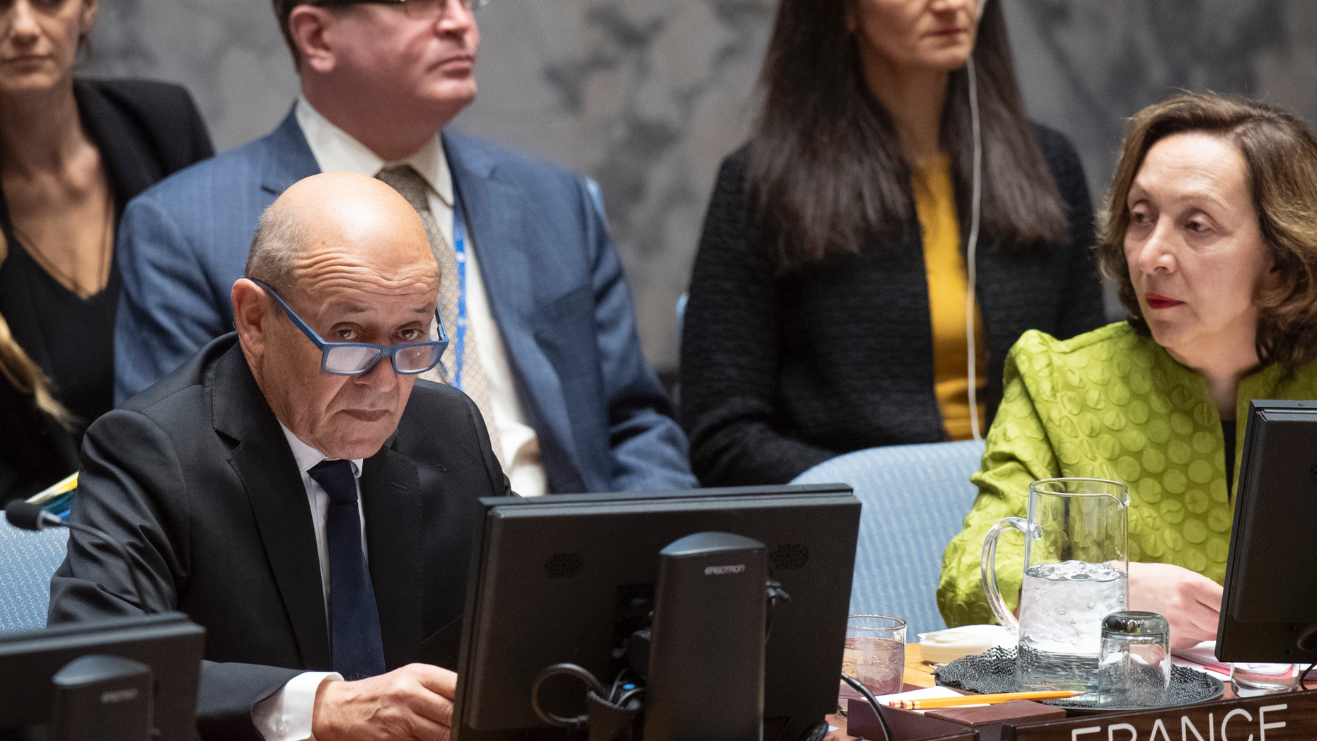 "Jean-Yves Le Drian, United Nations Security Council president, speaks at the UN headquarters about threats to international peace and security caused by terrorist acts, Thursday, March 28, 2019. The U.N. Security Council has unanimously adopted a resolution aimed at strengthening global efforts to combat the numerous and new ways that terrorist groups raise funds to finance their operations. The French-drafted resolution approved Thursday orders all countries to ensure that their domestic laws are sufficient to prosecute and penalize those responsible for directly or indirectly financing ""terrorist organizations or individual terrorists for any purpose."" At right is Hasmik Egian, Director of the Security Council Affairs Division of the Department of Political and Peacebuilding Affairs. (Eskinder Debebe/United Nations via AP)"