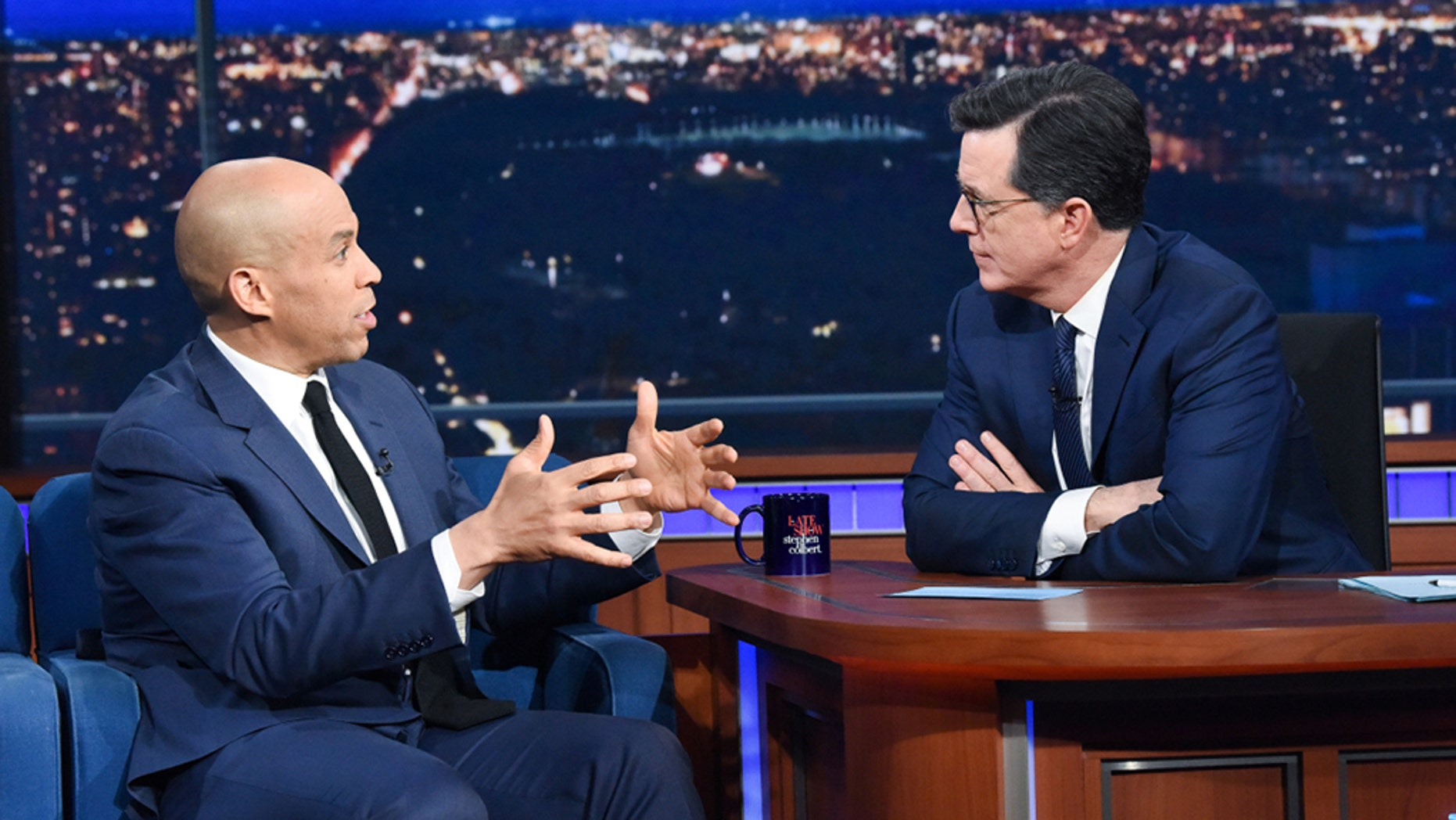 The Late Show with Stephen Colbert and guest Senator Cory Booker during Friday's March 8, 2019 show.