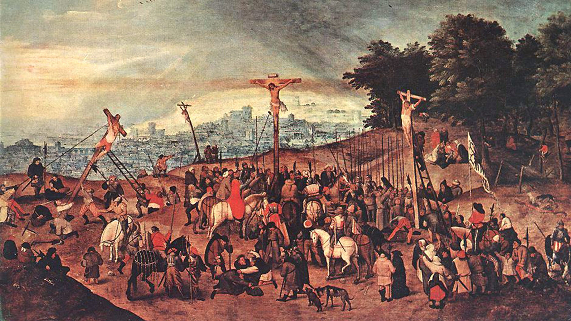Seventeenth-century Flemish artist Pieter Brueghel the Younger's famous painting The Crucifixion was donated to the Santa Maria Maddalena church in the small Ligurian town of Castelnuovo Magra more than a century ago. Last month, the masterpiece was removed and a copy put up in its place to catch the would-be robbers.<br>