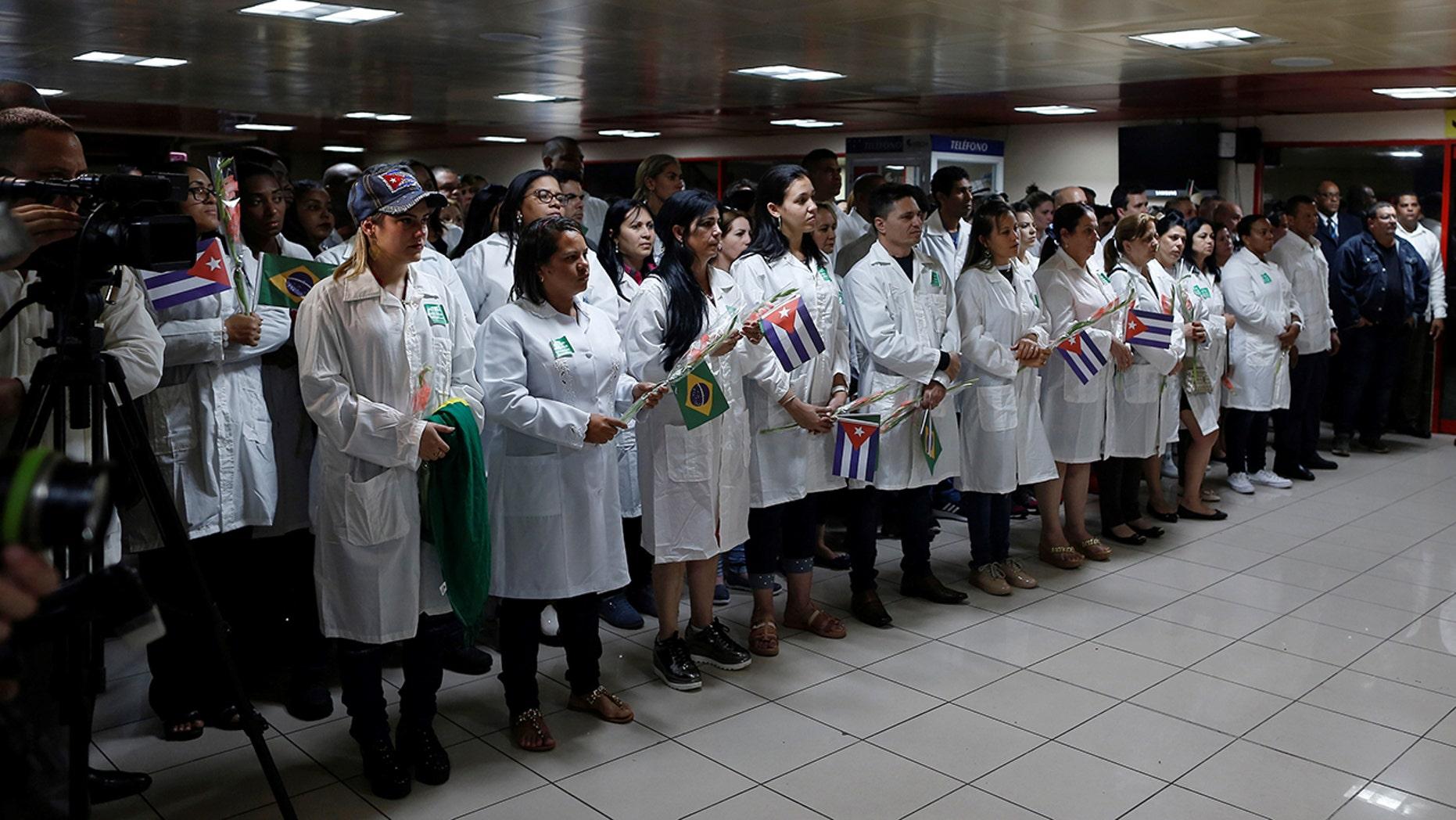 Cuban doctors at the Jose Marti International Airport in Havana, Cuba on November 23, 2018. REUTERS/Fernando Medina