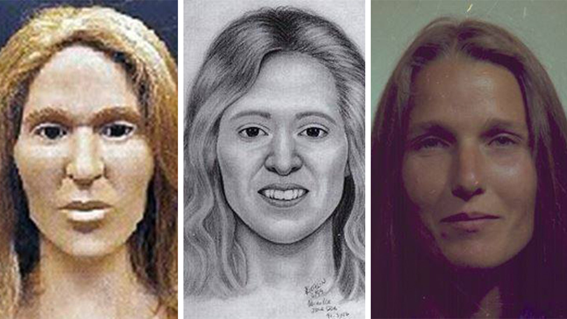 """After 28 years, detectives never gave up hope that a """"Jane Doe"""" case would one day be solved. From the clay reconstruction model (left) to the artist's sketch done after the model was completed, the woman was identified as Cynthia Merkley, """"AKA"""" Cynthia Bilardi who was 38 years old at the time of her death. (Vacaville Police Department)"""