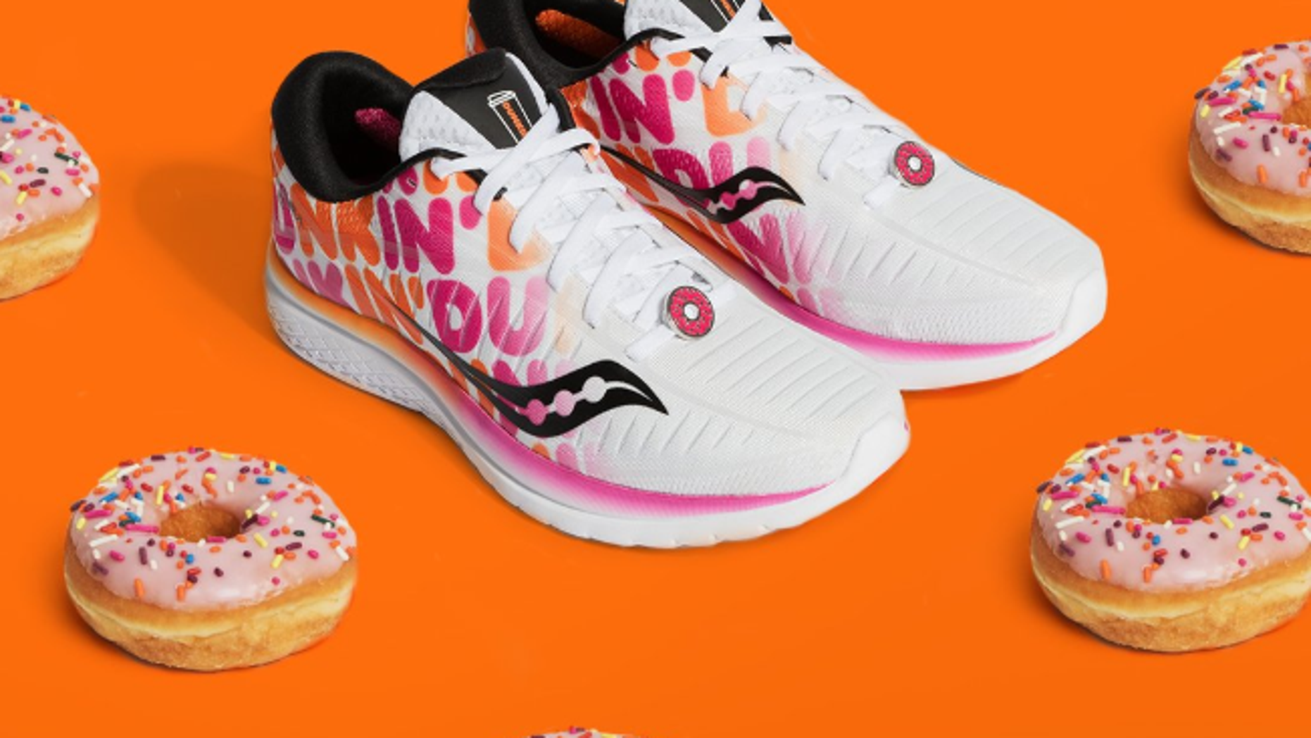 Dunkin' and Saucony partnered to release doughnut inspired sneakers before the Boston Marathon.