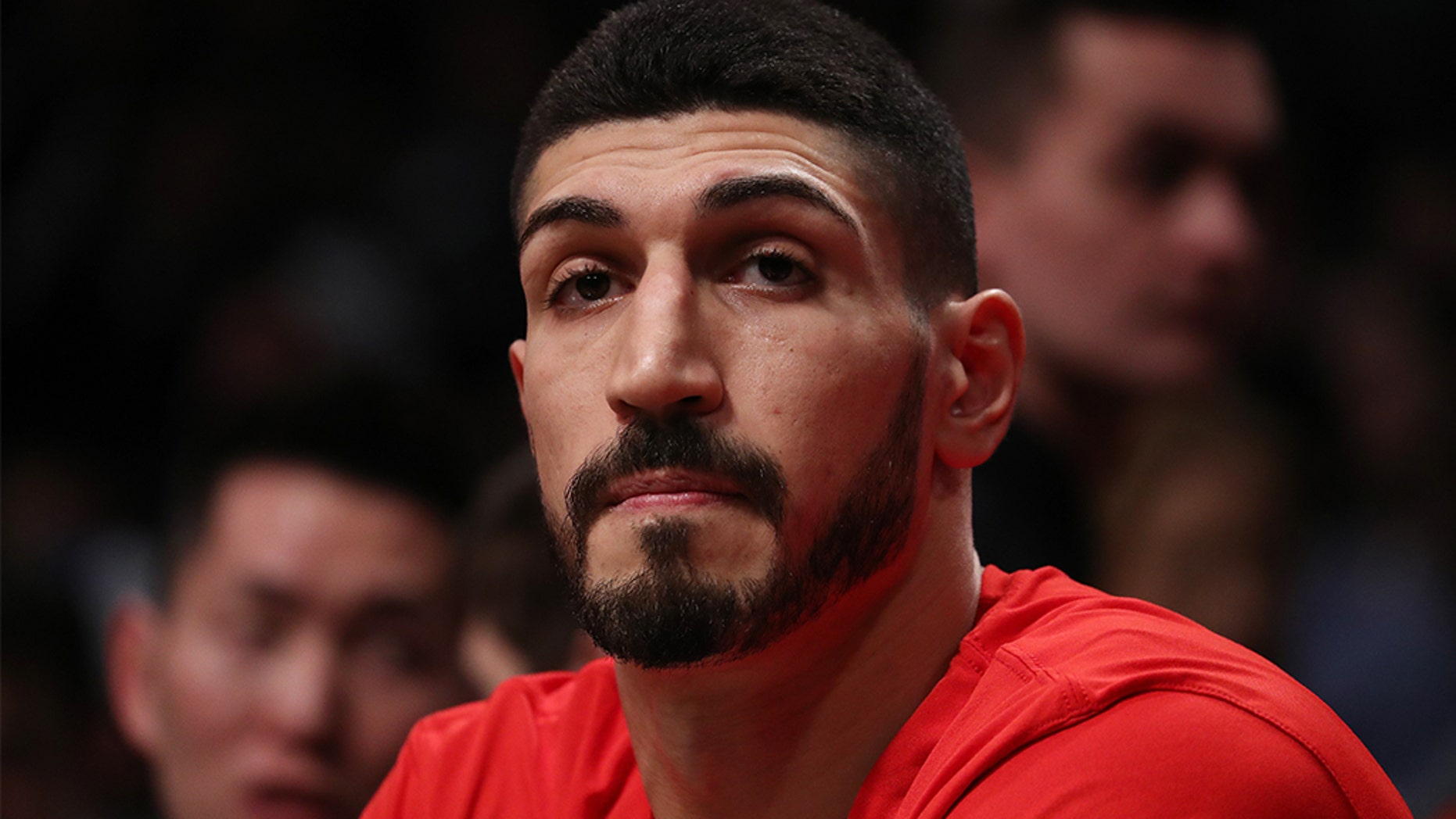 Enes Kanter of the Portland Trail Blazers looks on against the Brooklyn Nets during their game at Barclays Center on February 21, 2019 in New York City. (Photo by Al Bello/Getty Images)