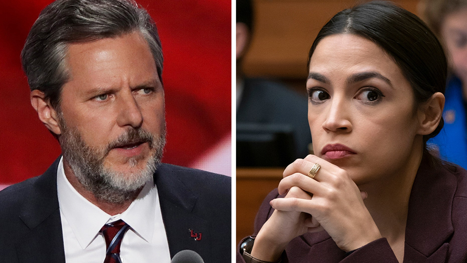 Rep. Alexandria Ocasio-Cortez, D-N.Y., sparred on Twitter Tuesday with Liberty University President Jerry Falwell Jr. concerning a few of his comments, including one made about her at CPAC over the weekend.