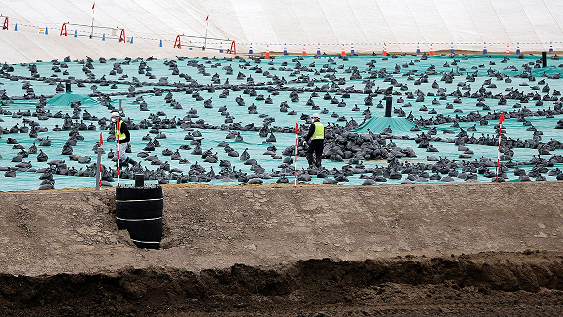 Workers are seen in February at a soil storage facility for decontamination work, near Tokyo Electric Power Co's tsunami-crippled Fukushima Daiichi nuclear power plant, in Okuma Town, Fukushima prefecture.