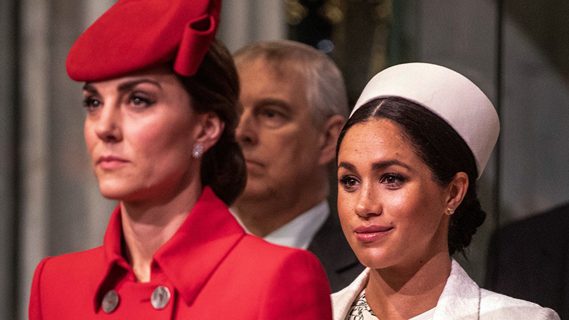 Britain's Catherine, Duchess of Cambridge and Meghan, Duchess of Sussex attend the Commonwealth Day service at Westminster Abbey in London on March 11, 2019. — Getty