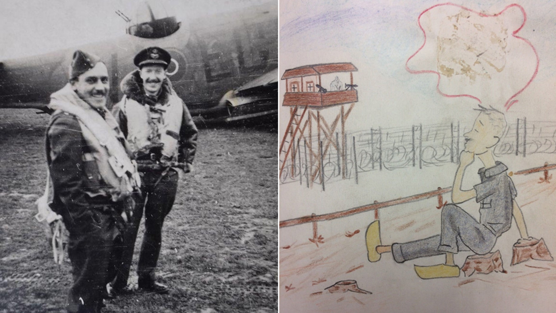 RAF Flt. Lt. Viv Phillips (left) and a fellow officer during World War II/a cartoon from Phillips' diary of life as a POW. (Hansons Auctioneers)