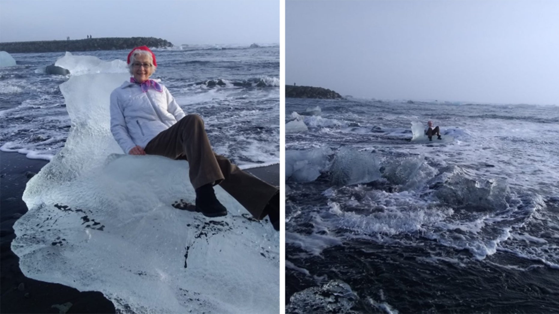 Woman sits on chair-shaped ice, floats away