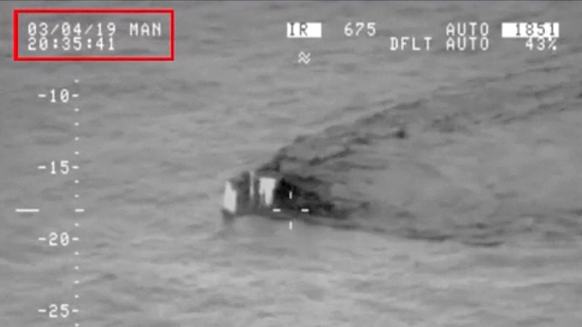 """In this image made from video taken on March 4, 2019, and released on Tuesday, March 5, 2019, by the Pakistan Military, shows what they claim is an Indian submarine approaching its territorial waters in the Arabian Sea. Pakistan's navy says the submarine was not targeted, """"keeping in view Pakistan's policy of peace"""" under which Islamabad wants to de-escalate tensions with New Delhi."""