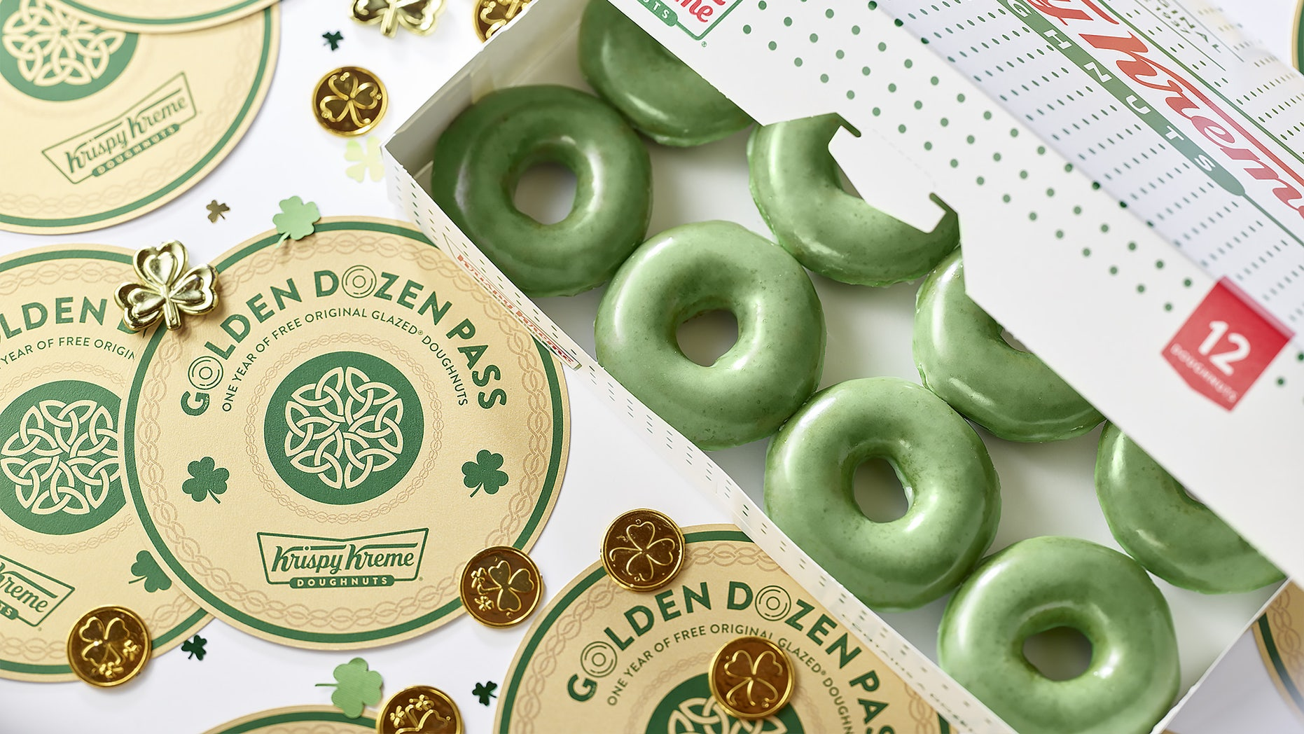 """For a limited time between March 15 and March 17, Krispy Kreme will be celebrating the St. Patrick's Day weekend with the return of its """"O'riginal"""" glazed doughnuts."""