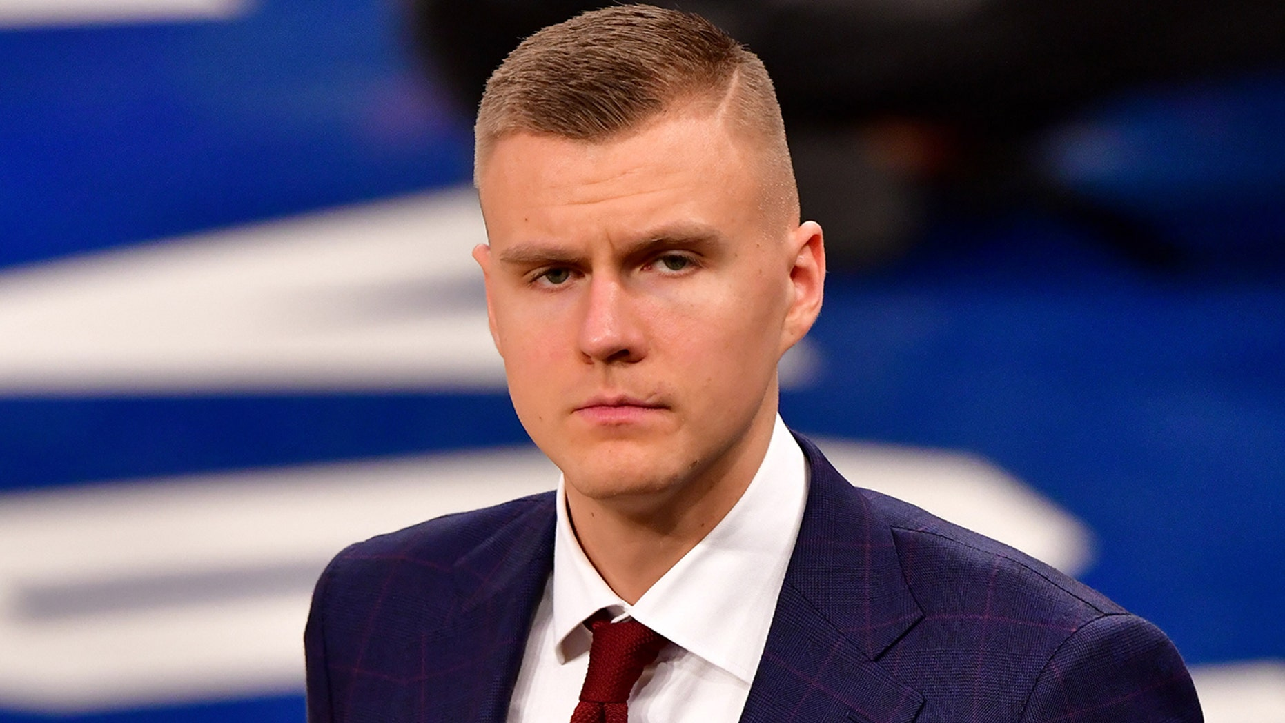 Kristaps Porzingis attends an Oklahoma City Thunder vs. New York Knicks game at Madison Square Garden on Jan. 21, 2019, in New York City. (Getty Images)