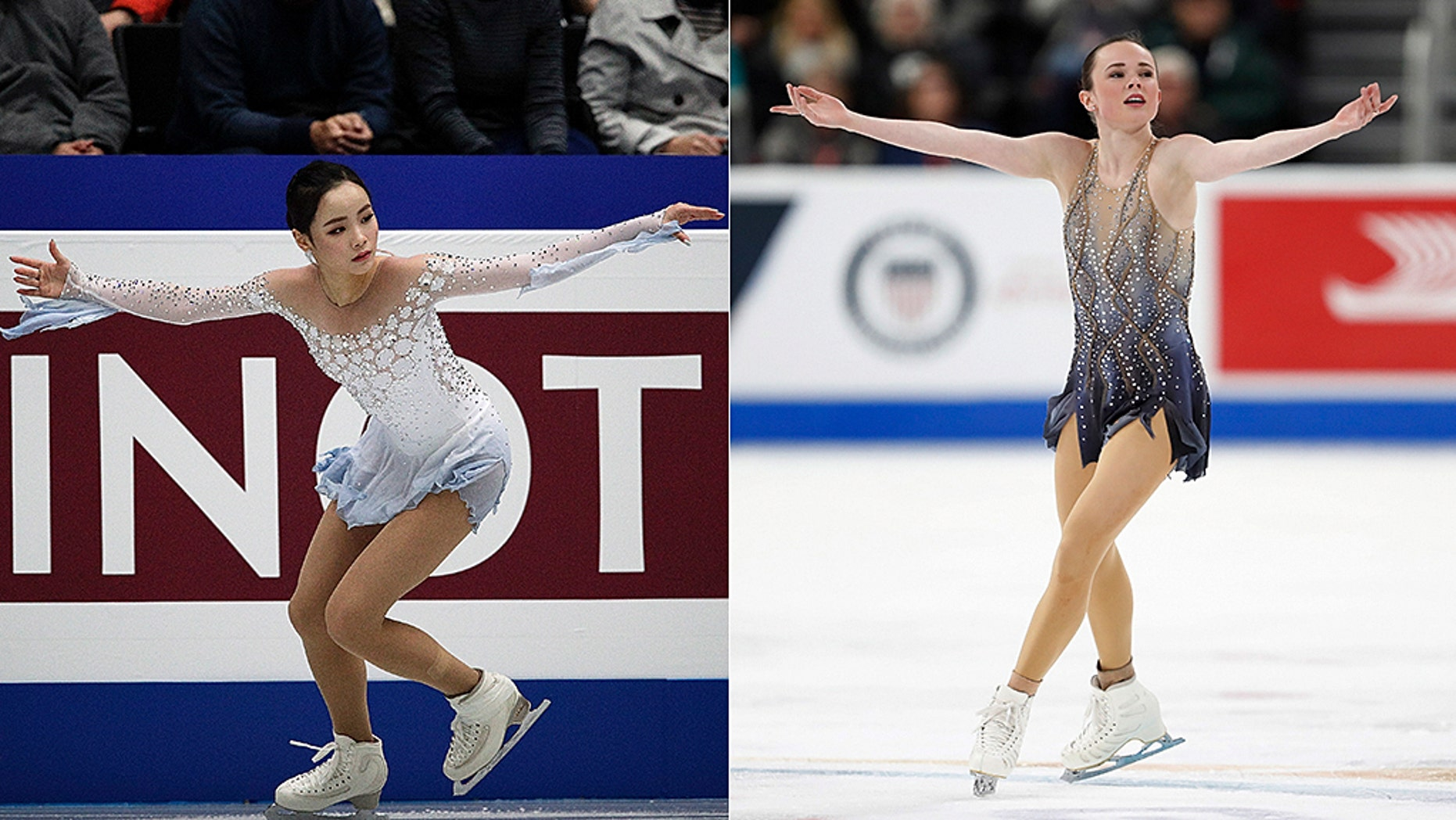 Mariah Bell, 22, an American figure skater, [right] is indicted of bullying and intentionally rupturing competition South Korean skater Lim Eun-soo [left] during warm-ups during a World Figure Skating Championships in Saitama, Japan, on Wednesday, Mar 20, 2019.