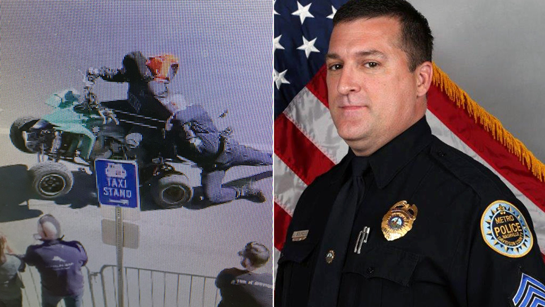 Sgt. John Bourque, right, suffered minor injuries when he was struck and dragged by a four-wheeler