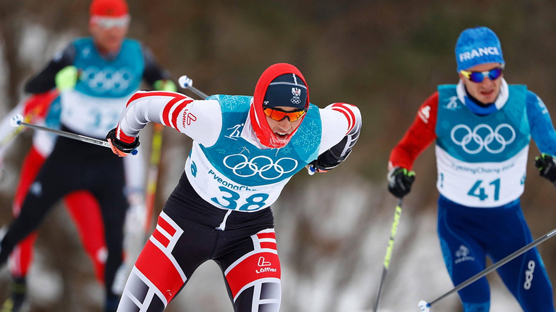 Max Hauke of Austria in action during the 2018 Winter Olympics in South Korea.
