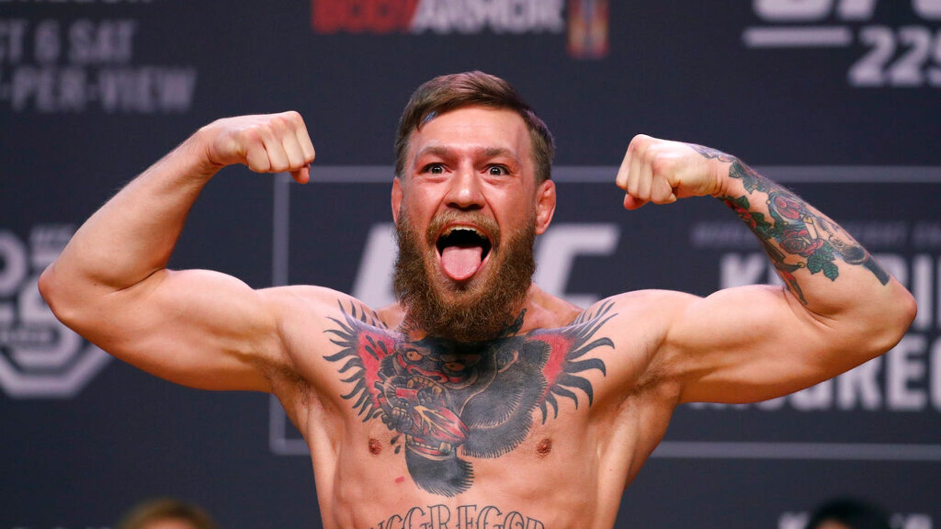 FILE: Conor McGregor poses during a rite weigh-in for a UFC 229 churned martial humanities quarrel in Las Vegas.