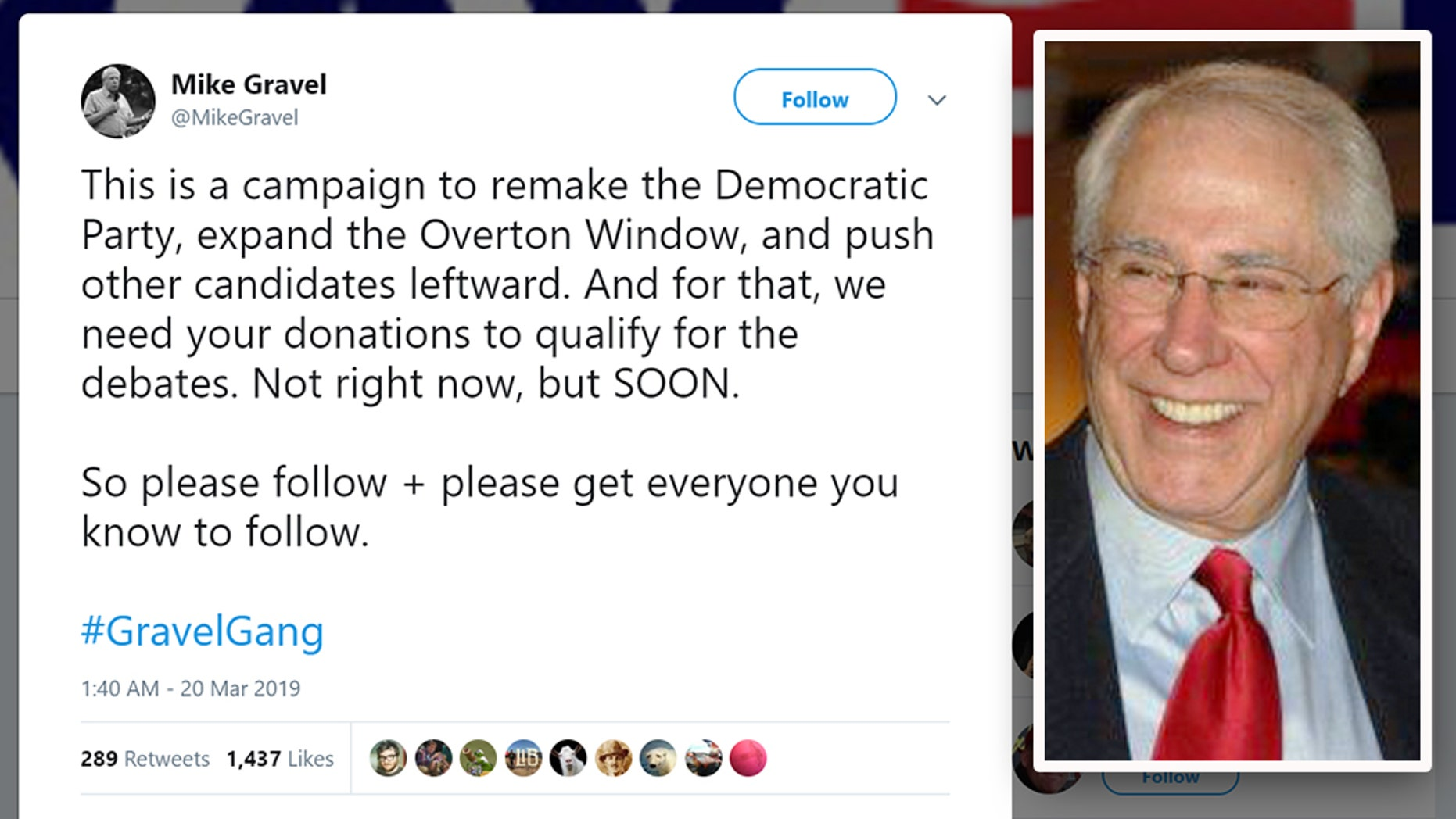 Former Democratic U.S. Sen. Mike Gravel of Alaska, 88, is the latest to run for president. (Twitter / Mike Gravel)