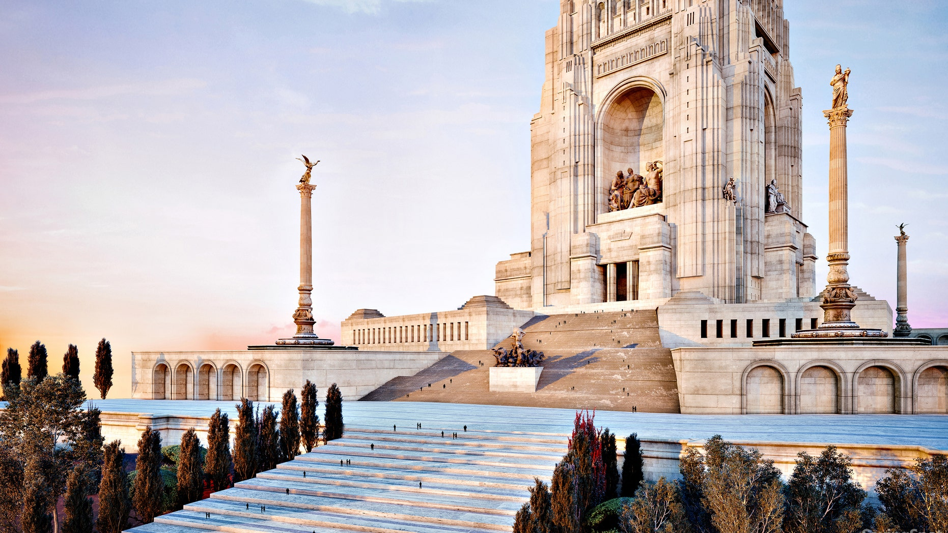 A digital rendering of the unbuilt Mother's Memorial in Washington, D.C.