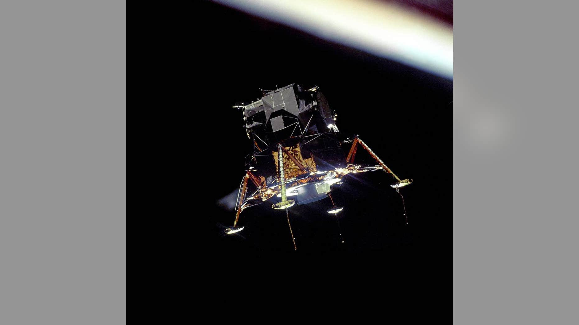 Photo - The Apollo 11 lunar module Eagle in a landing configuration, photographed by the Command and Service Module Columbia. (NASA)