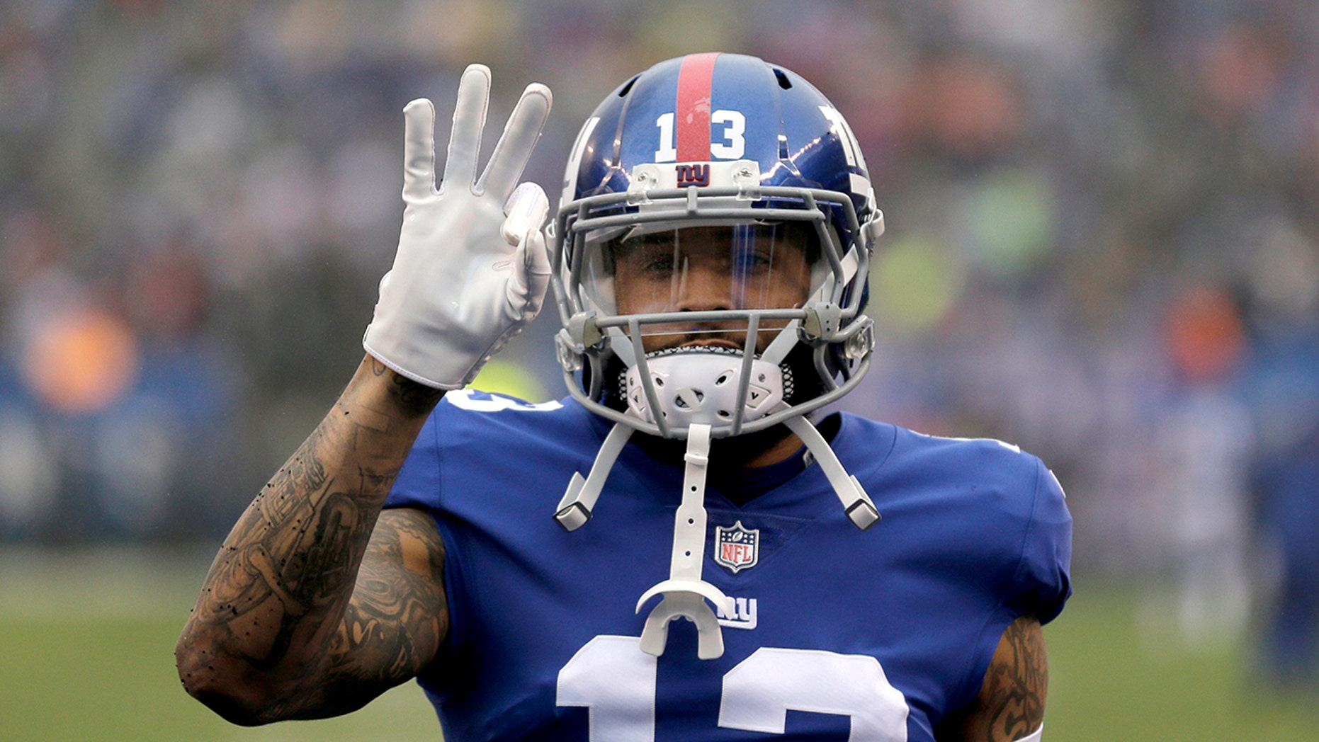 FILE - In this Dec. 2, 2018, file photo, New York Giants wide receiver Odell Beckham Jr. gestures prior to the team's NFL football game against the Chicago Bears in East Rutherford, N.J. (Associated Press)