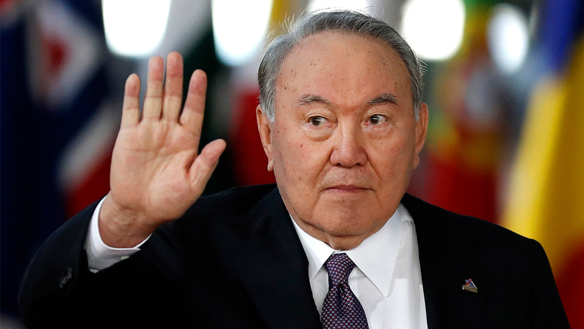 FILE - In this file photo taken on Oct. 18, 2018, Kazakhstan's President Nursultan Nazarbayev arrives for the ASEM 12 in Brussels. Nazarbayev, who has ruled the oil-rich ex-Soviet nation for nearly three decades, announced his resignation in a televised address to the nation on Tuesday, March 19, 2019. (AP Photo/Alastair Grant, File)