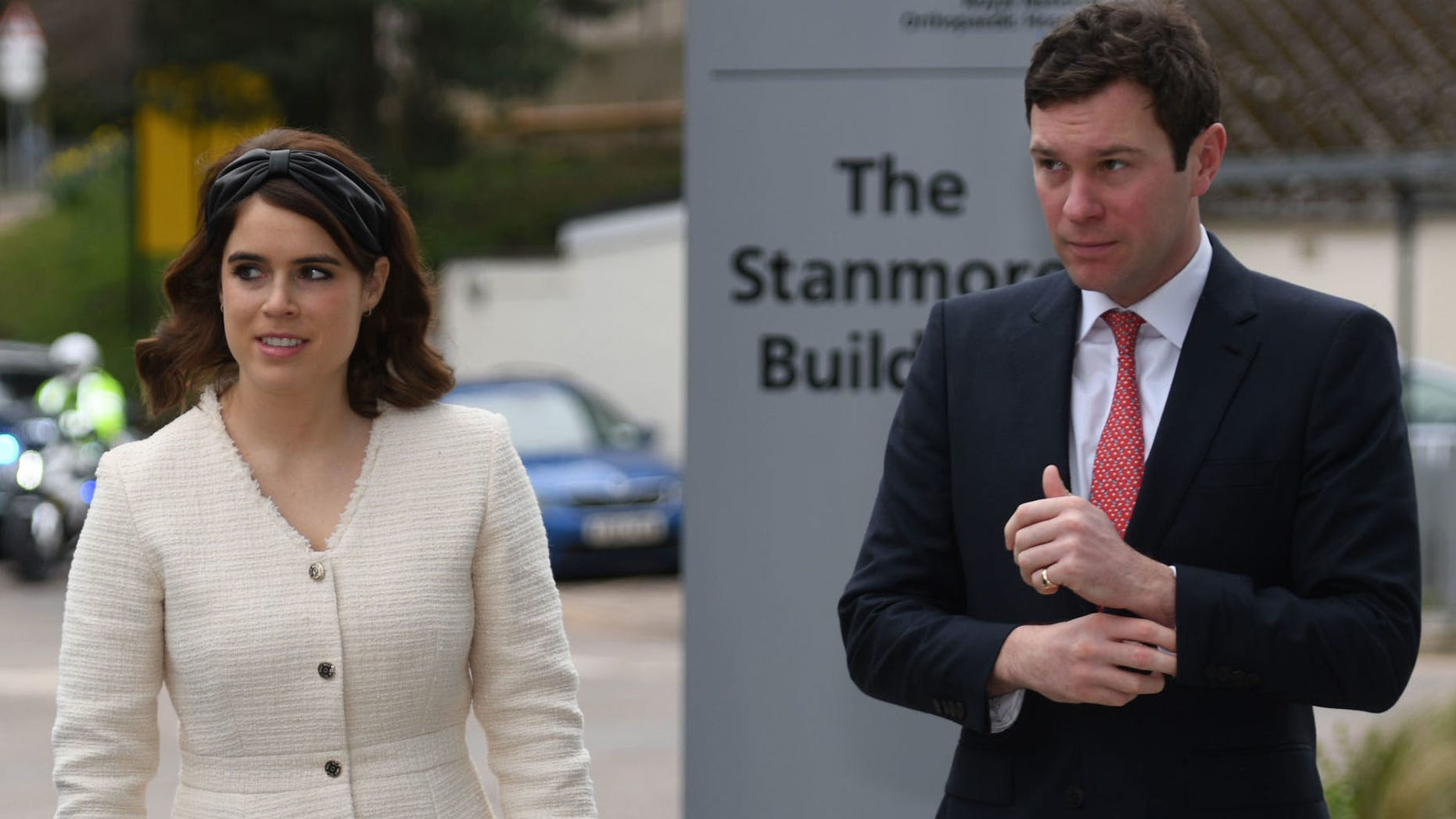 Princess Eugenie of York and Jack Brooksbank arrive at the Royal National Orthopaedic Hospital to open the new Stanmore Building on Thursday in London.