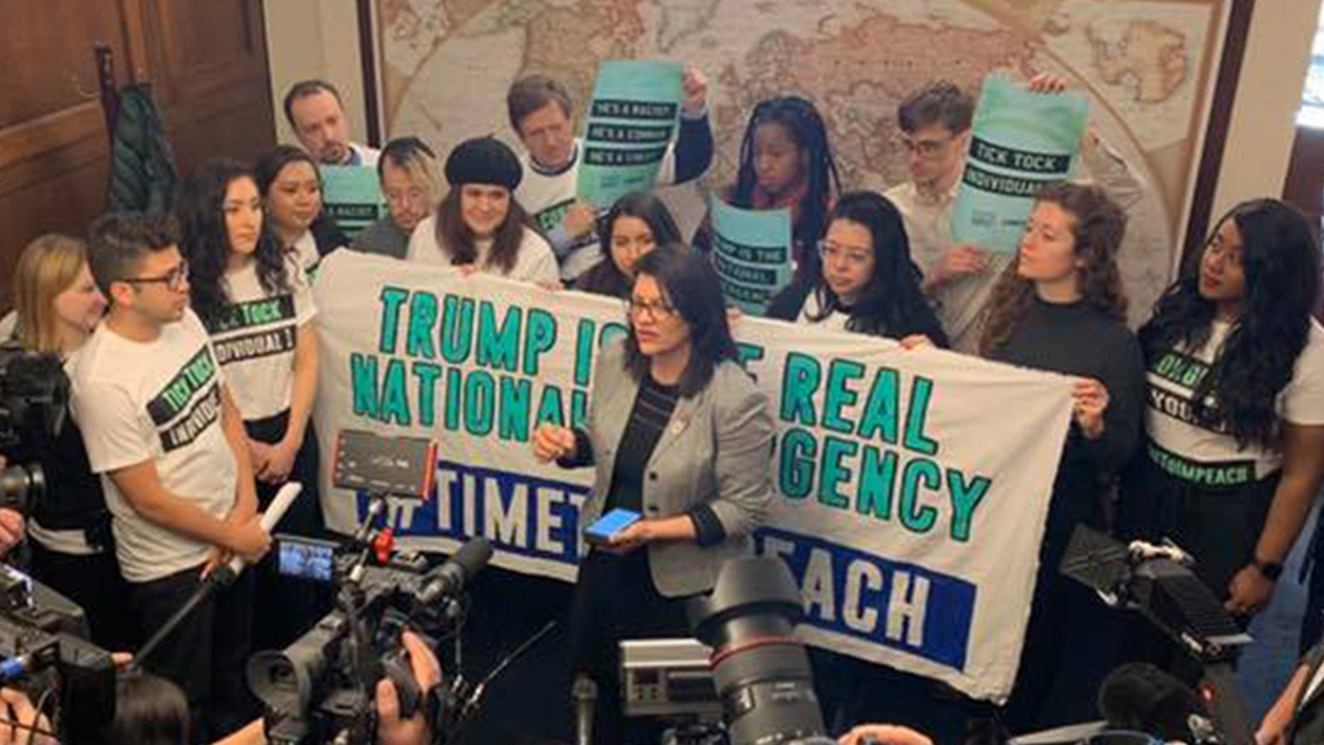 Rep. Rashida Tlaib joined protesters with CREDO Action and By the People, a new advocacy group pushing for the impeachment of President Trump. Together they urged members of Congress to begin impeachment proceedings.