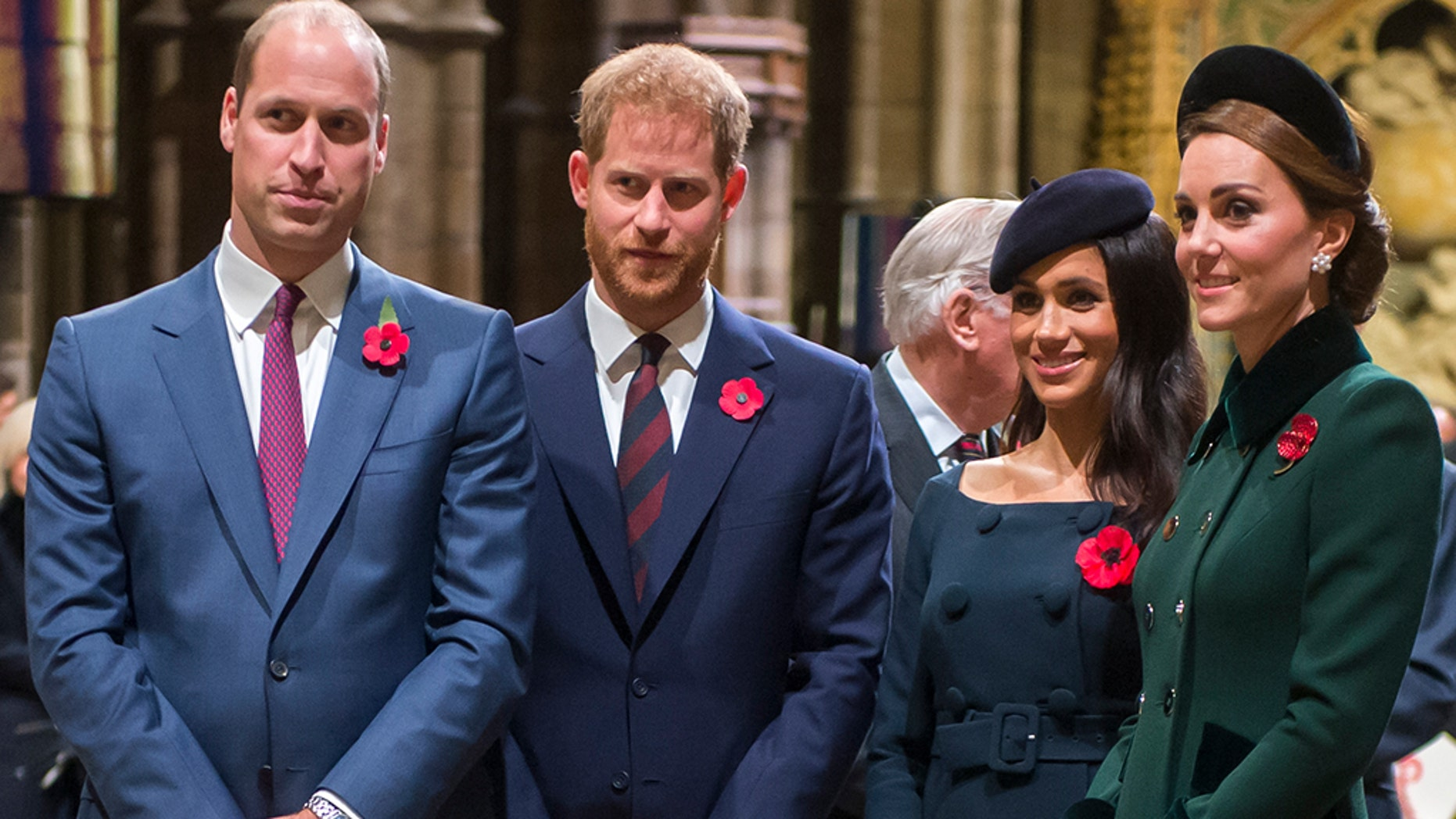 Prince William, Duke of Cambridge, Prince Harry, Duke of Sussex and Meghan, Duchess of Sussex and Catherine, Duchess of Cambridge, attend a service marking the centenary of WW1 armistice at Westminster Abbey on November 11, 2018 in London, England.