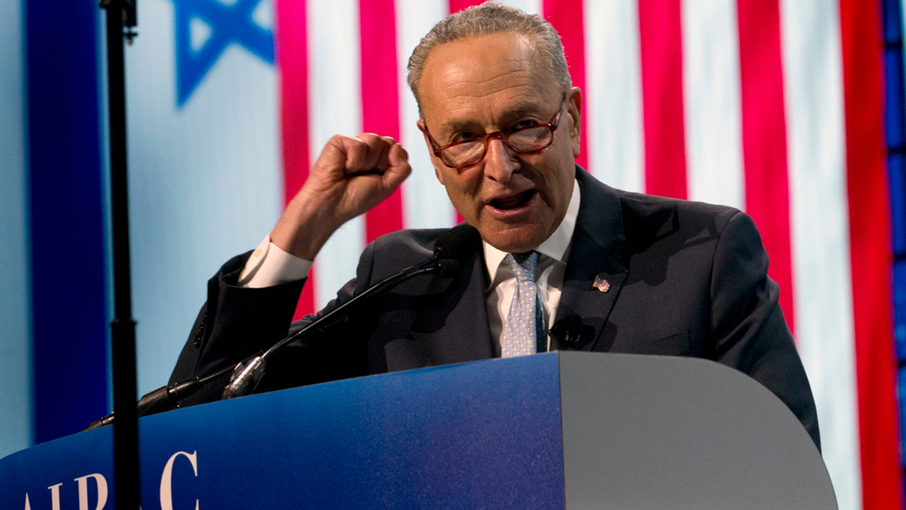 The Senate Minority Leader, Chuck Schumer, D-N.Y., spoke at the Political Conference of the US Public Affairs Committee (AIPAC) on Monday night in Washington. (AP Photo / Jose Luis Magana)