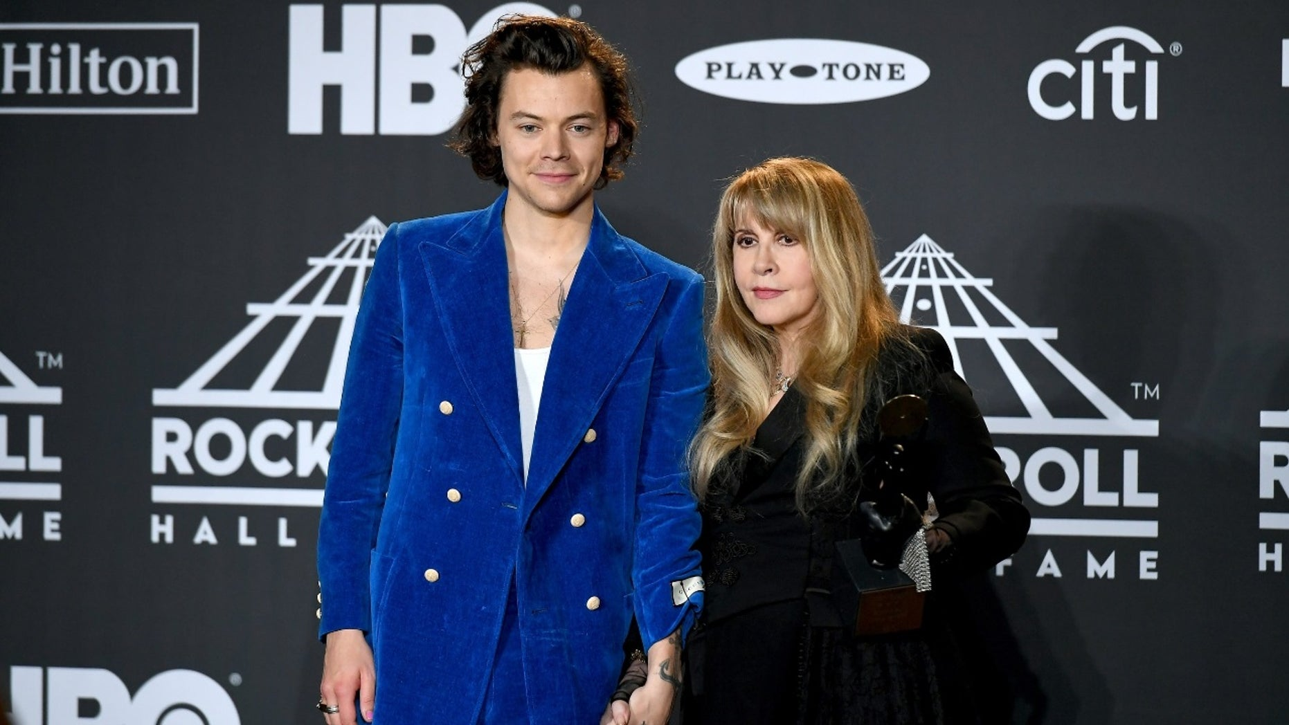 Stevie Nicks accidentally referred to Harry Styles as a member of NSYNC at Friday's Rock and Roll Hall of Fame ceremony.