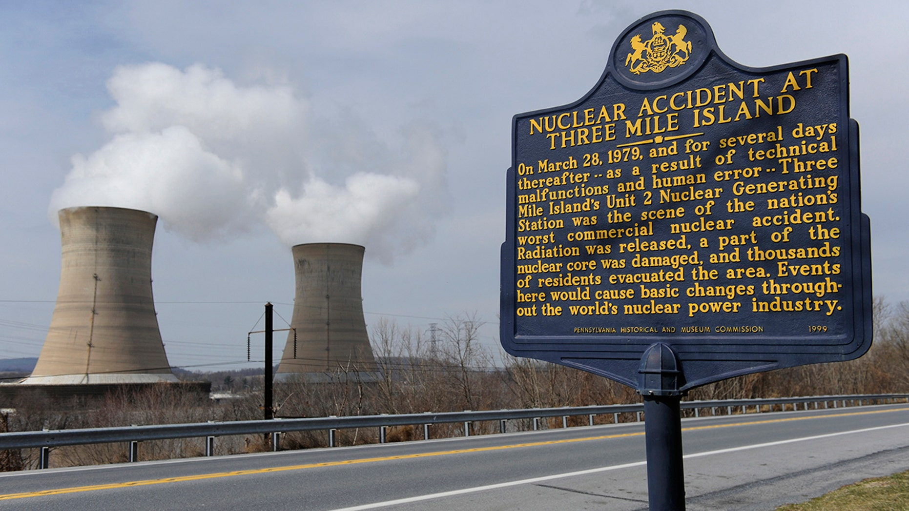 A sign marks the Three Mile Island nuclear power plant, where the U.S. suffered its most serious nuclear accident in 1979, in Middletown, Pennsylvania. (REUTERS/Jonathan Ernst)