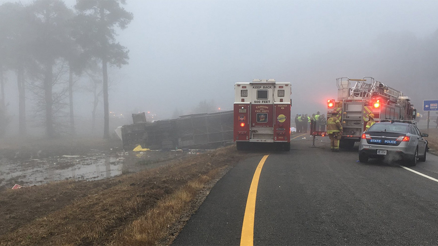 Virginia State Police said Yui Man Chow, a 40-year-old Staten Island resident, was driving a Toa's Travel bus through Prince George County, Va., on I-95 about 5:20 a.m. when the vehicle overturned at Exit 45.