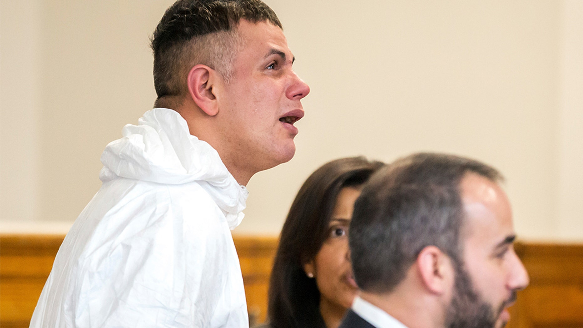 Victor Pena, left, is arraigned on kidnapping charges at the Charlestown Division of the Boston Municipal Court in Charlestown, Massachusetts on Jan. 23.