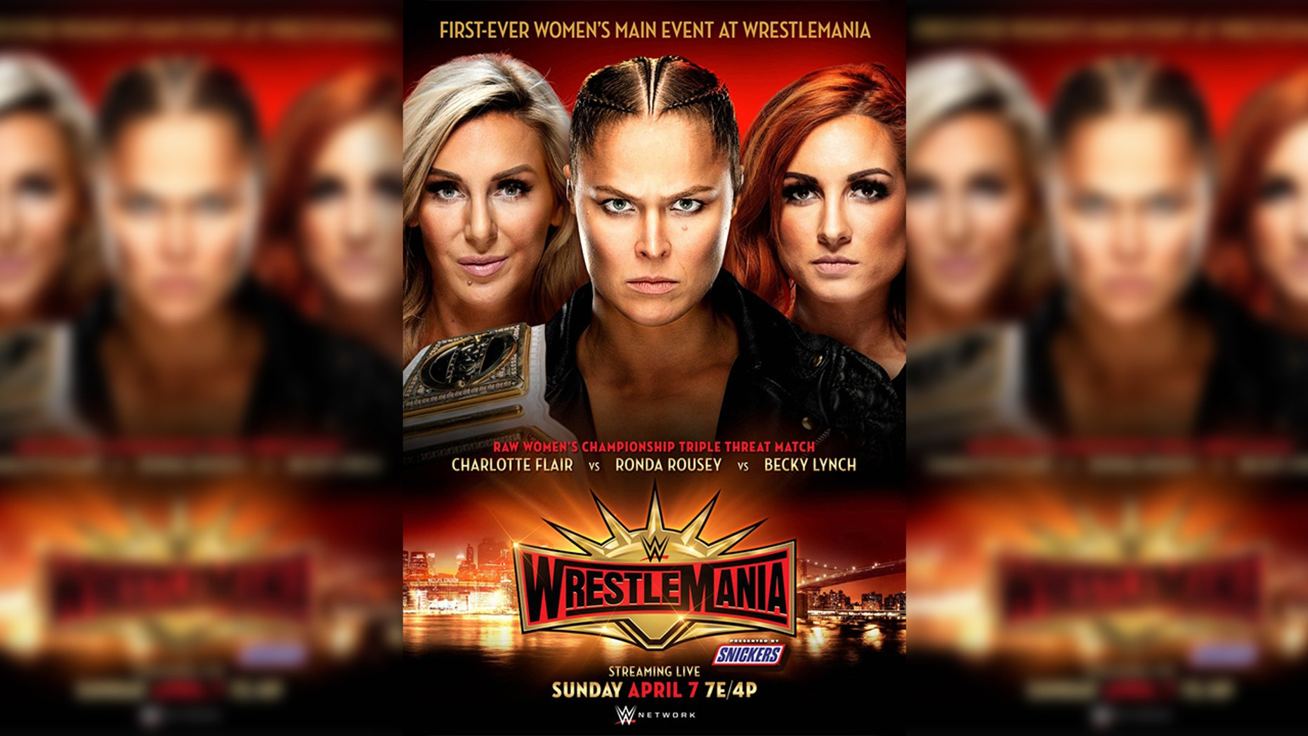 Becky Lynch, Charlotte Flair and Ronda Rousey compete in the WrestleMania tournament for the very first Ladies for the Raw Womens Championship.