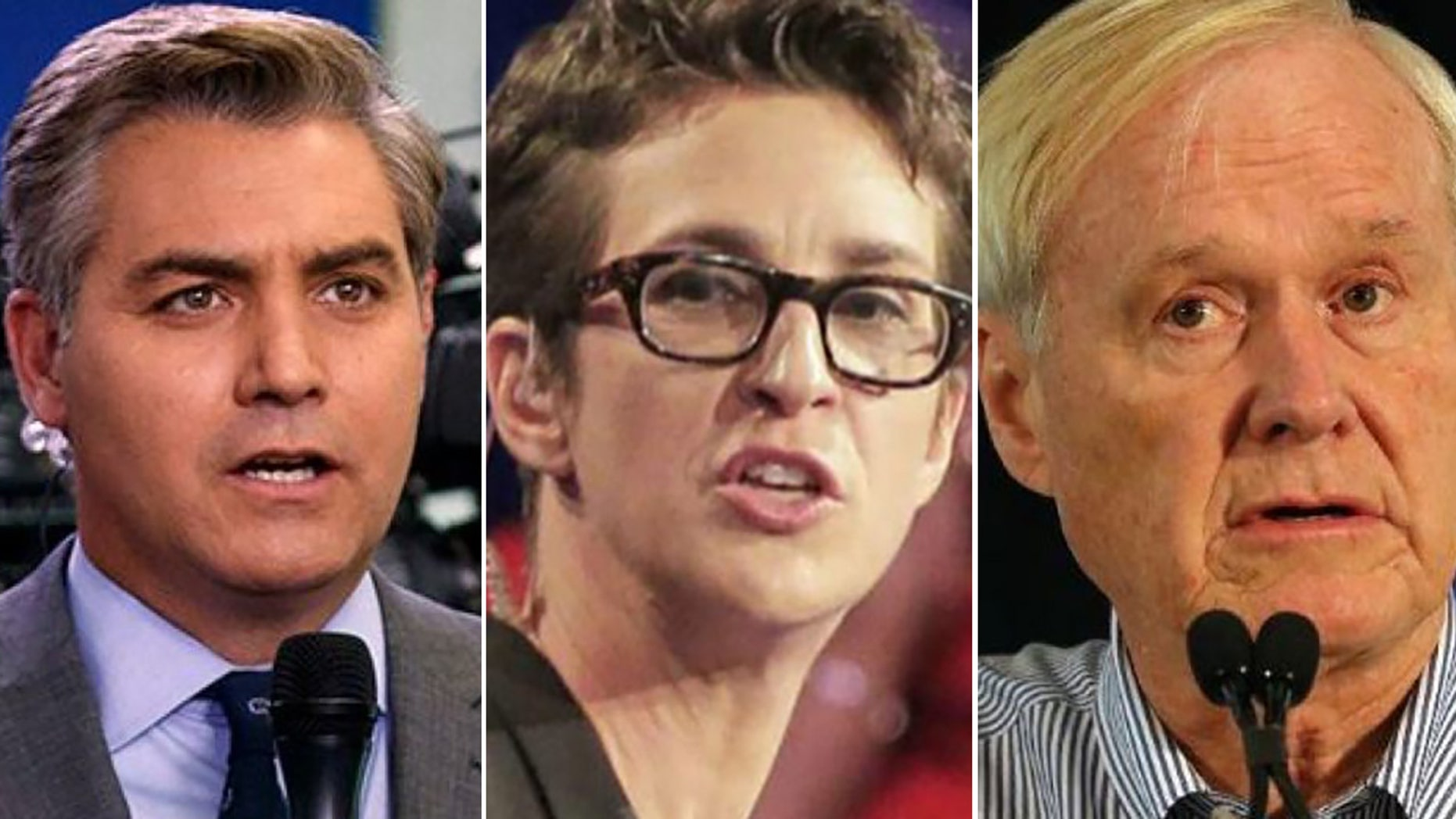 Mainstream media figures Jim Acosta of CNN, left, and Rachel Maddow and Chris Matthews of MSNBC all seemed stunned as Special Counsel Robert Mueller's Russia investigation wrapped up Friday with no more indictments planned.