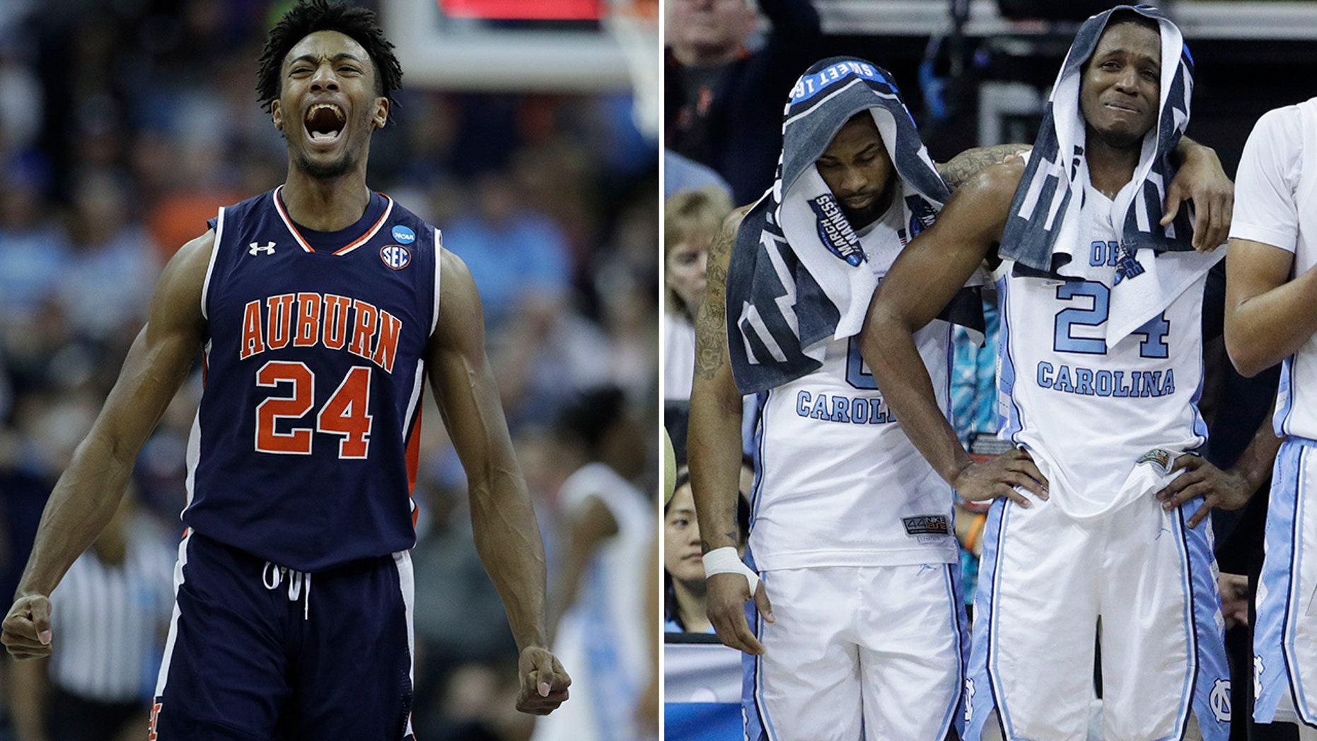 No. 5 Auburn upset top-seeded North Carolina to advance to the Elite 8 in just some of the Sweet 16 action Friday night. (Associated Press)