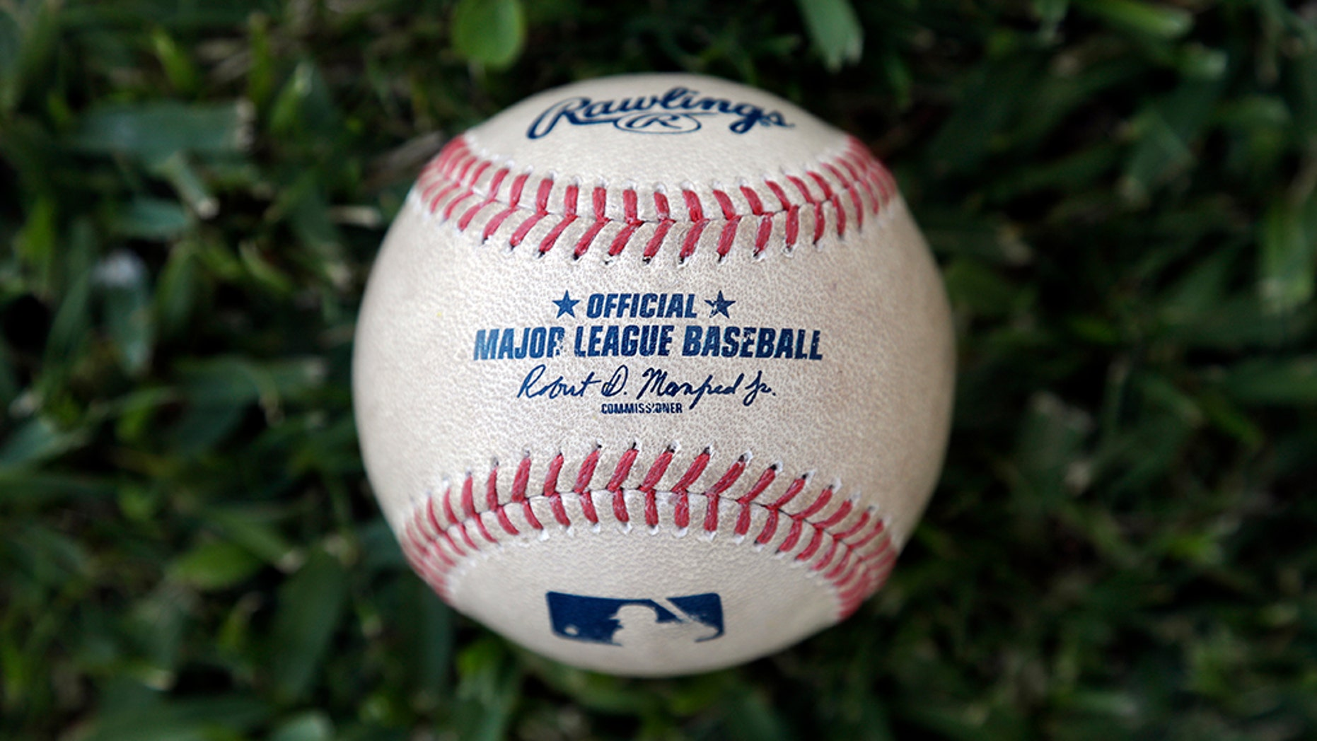 Major League Baseball's new prototype baseball is shown Wednesday, March 20, 2019, in Clearwater, Fla. (AP Photo/Chris O'Meara)