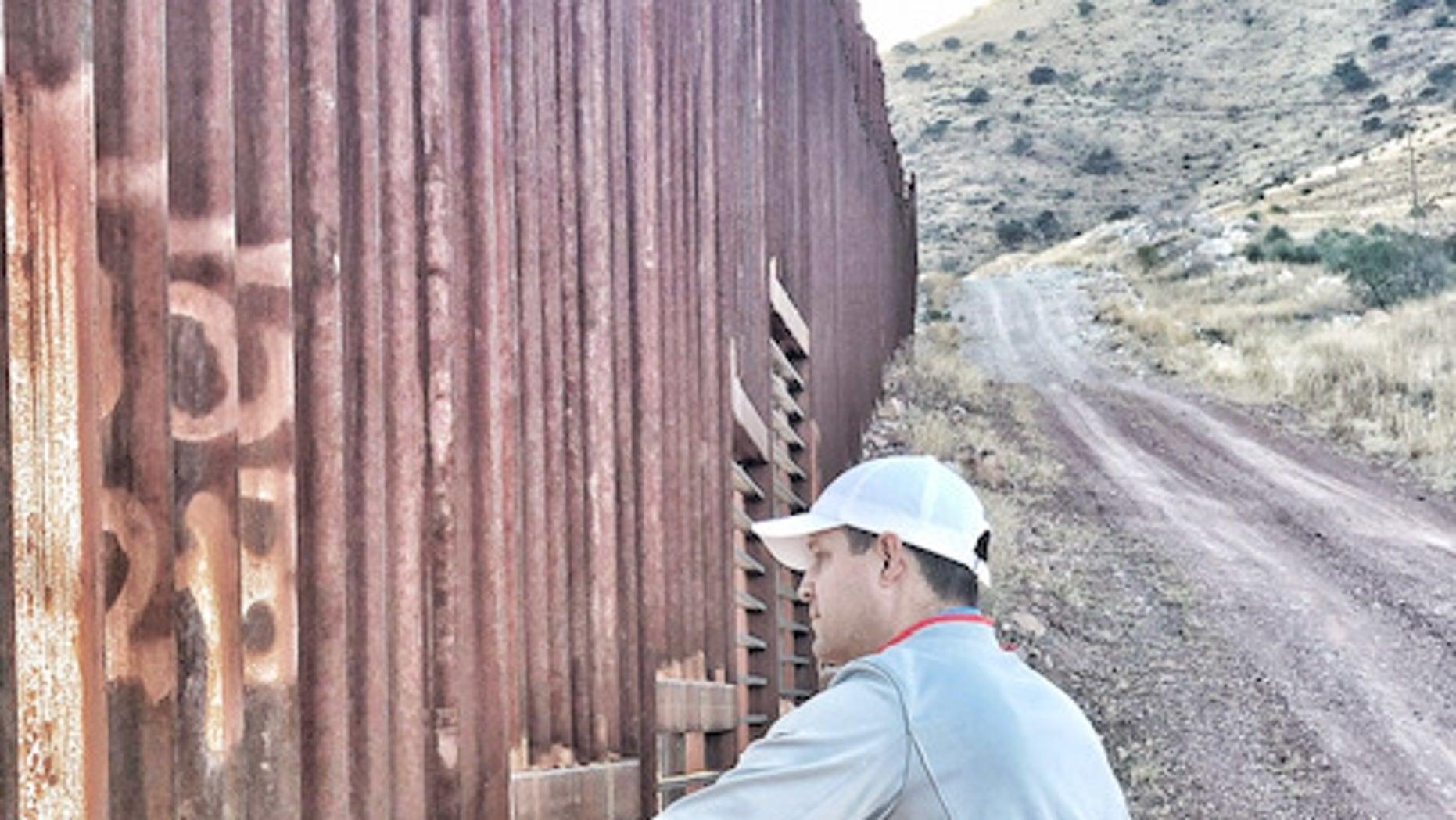 Brian Kolfage on a visit to the Arizona-Mexico border last month.