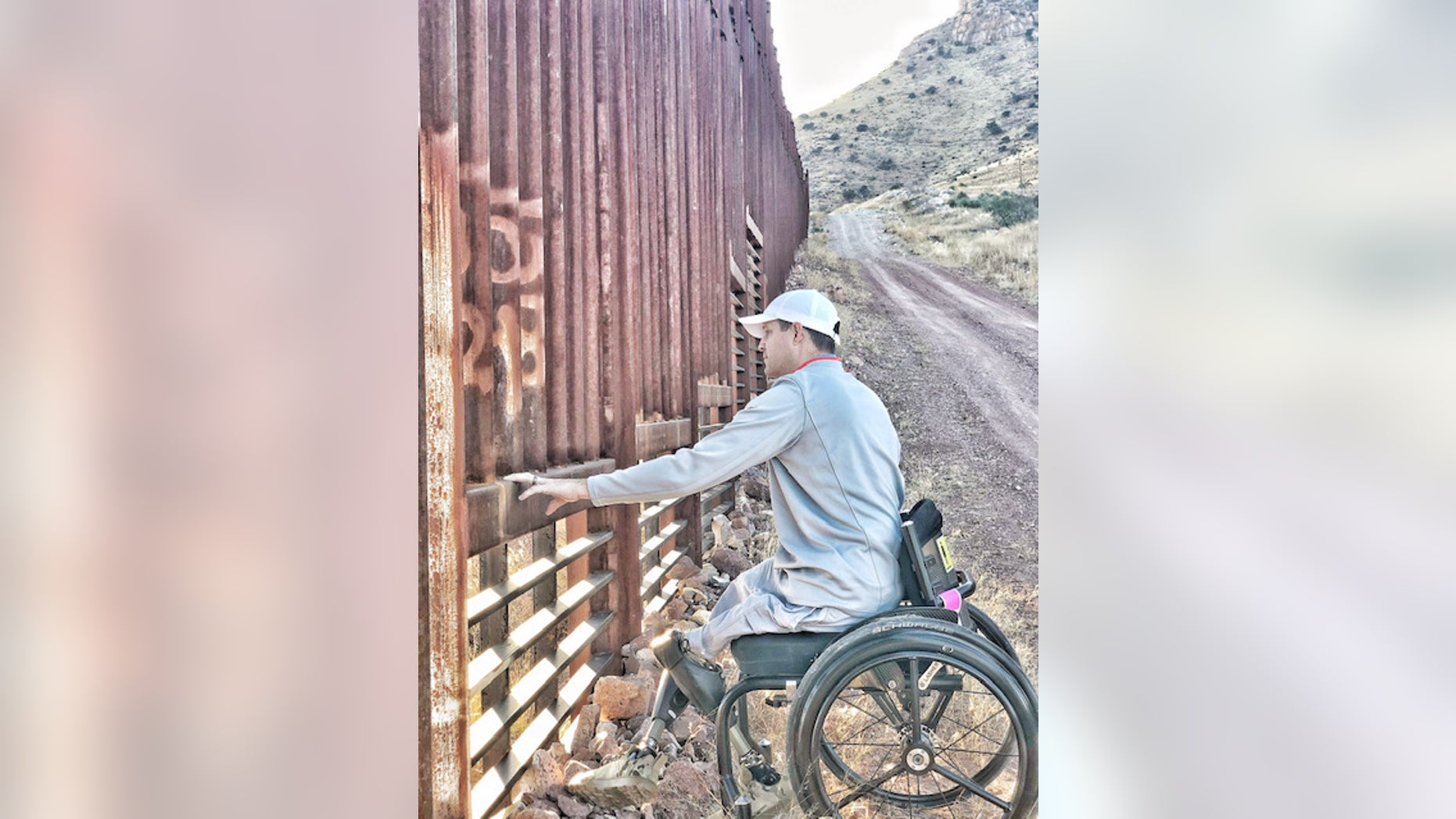 Brian Kolfage on a visit to the Arizona-Mexico border last month.