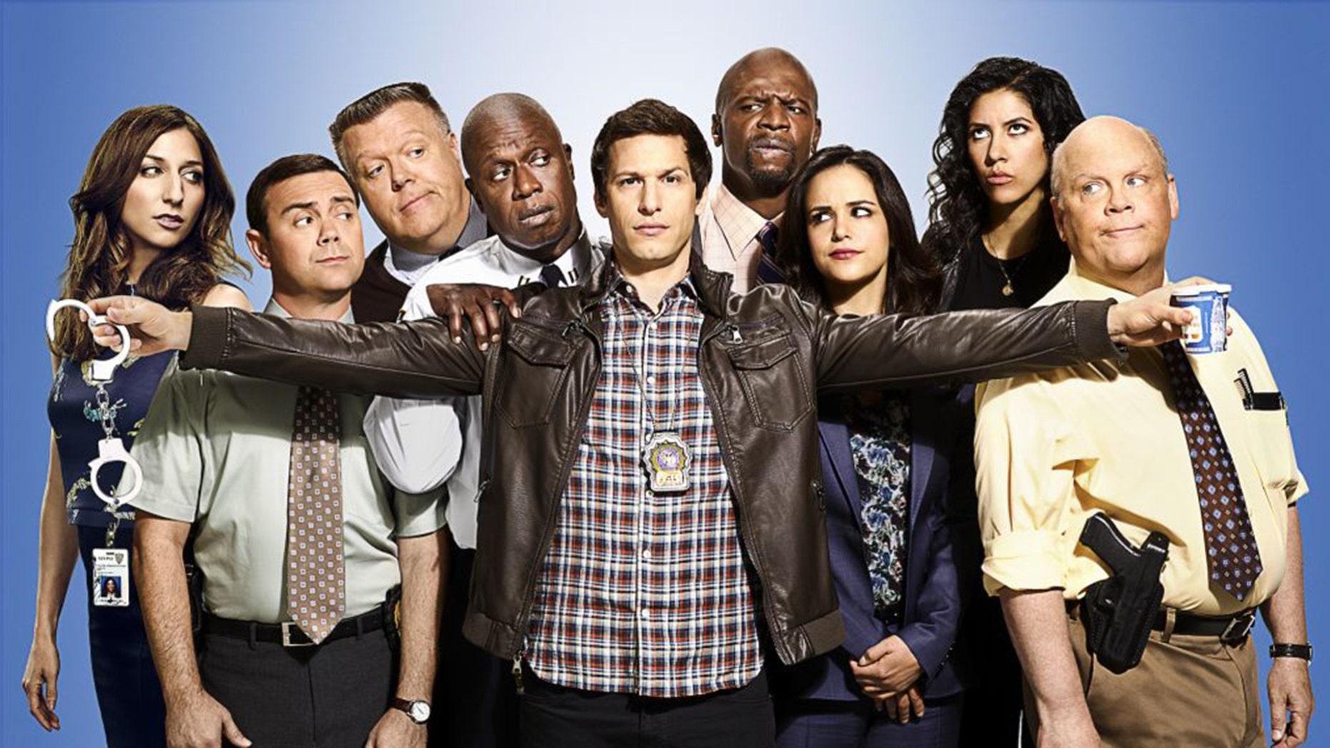 Cast of the sitcom Brooklyn Nine-Nine, starring Andy Samberg (center).