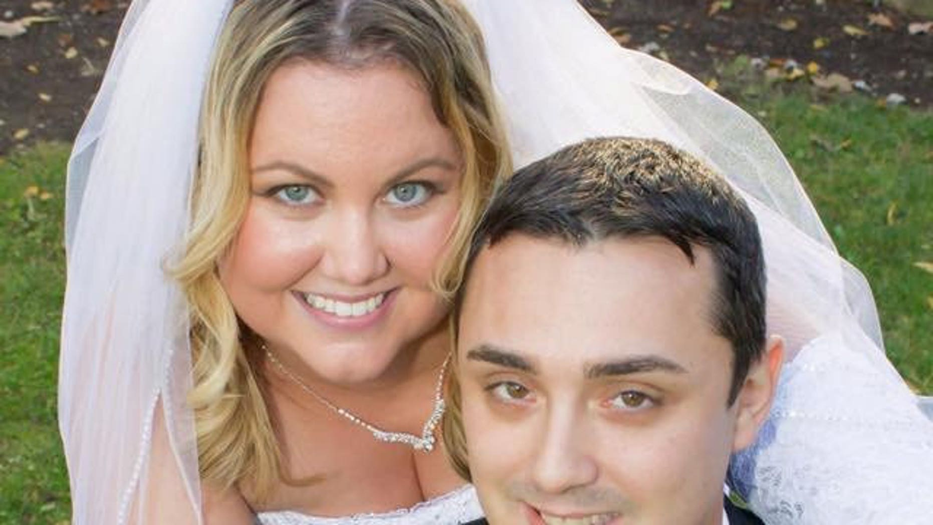 Ashley Heil, pictured with her husband Ben on their wedding day, had an armband to hide her IV drip.
