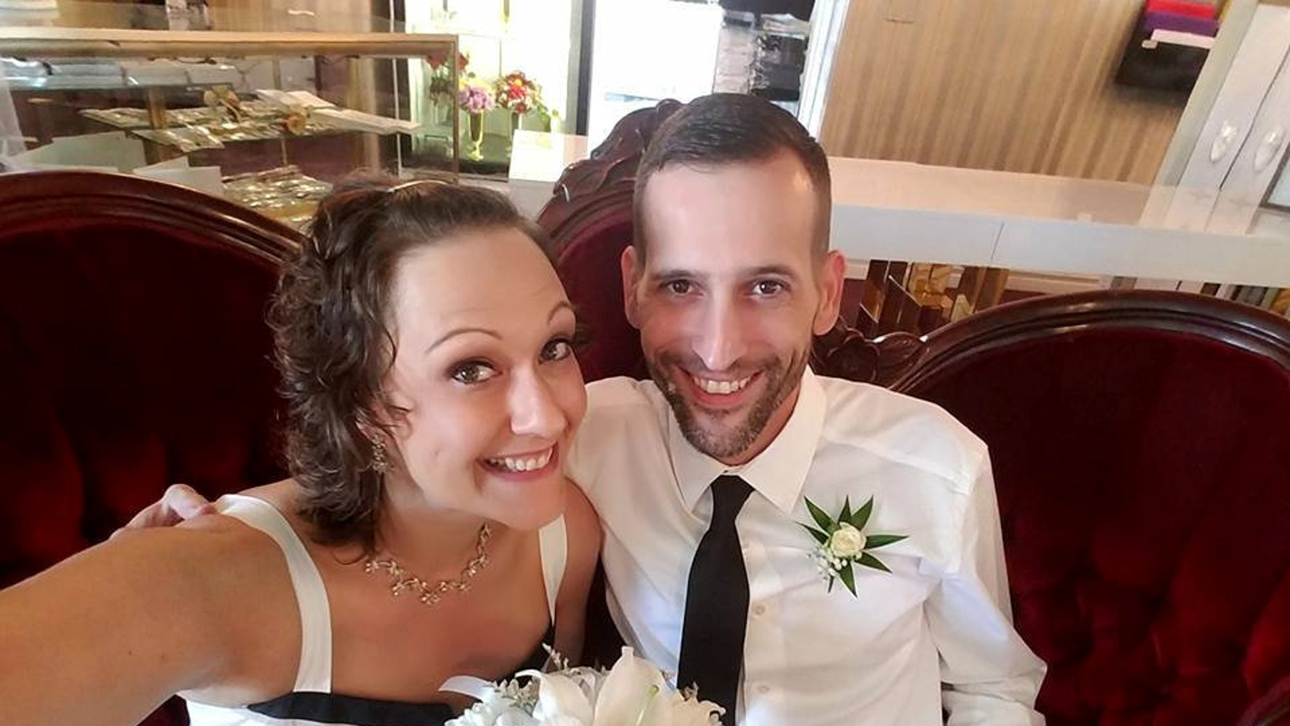 Michelle and Brian, pictured at their vow renewals in Las Vegas 2017, said that their dual cancer diagnoses have made their relationship stronger.