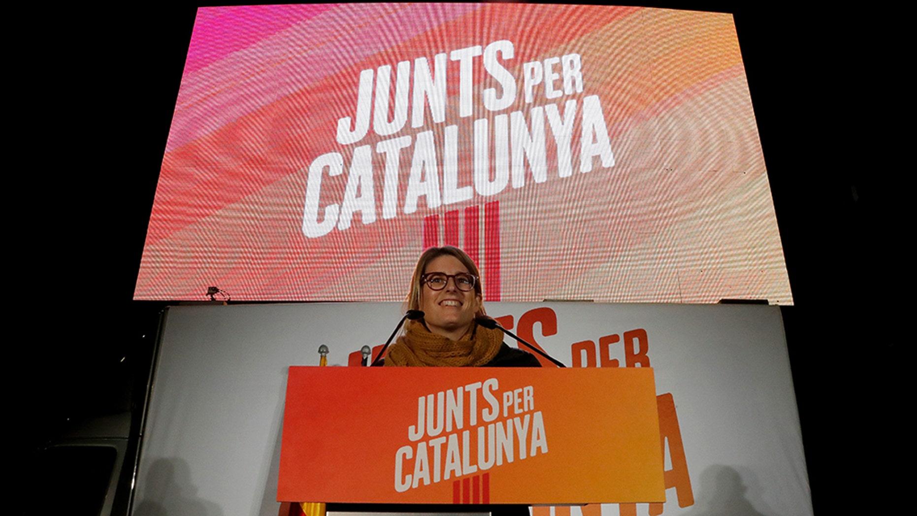 Elsa Atardi addresses the Junts Per Catalunya's campaign closing rally ahead of regional elections in Barceliona, Spain, December 19, 2017.