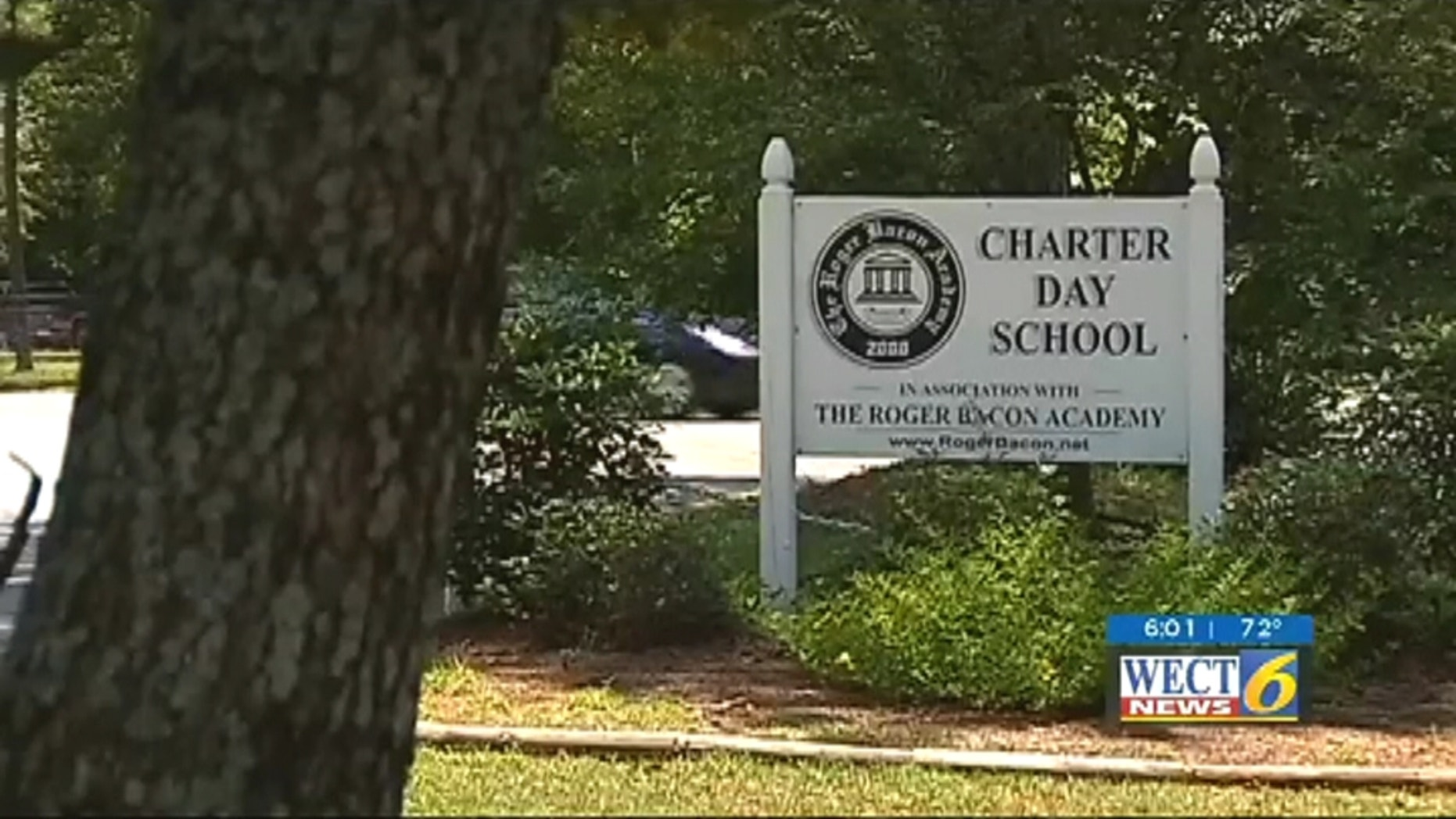 Students run outside of school as Charter Day dress code was recently deemed unconstitutional