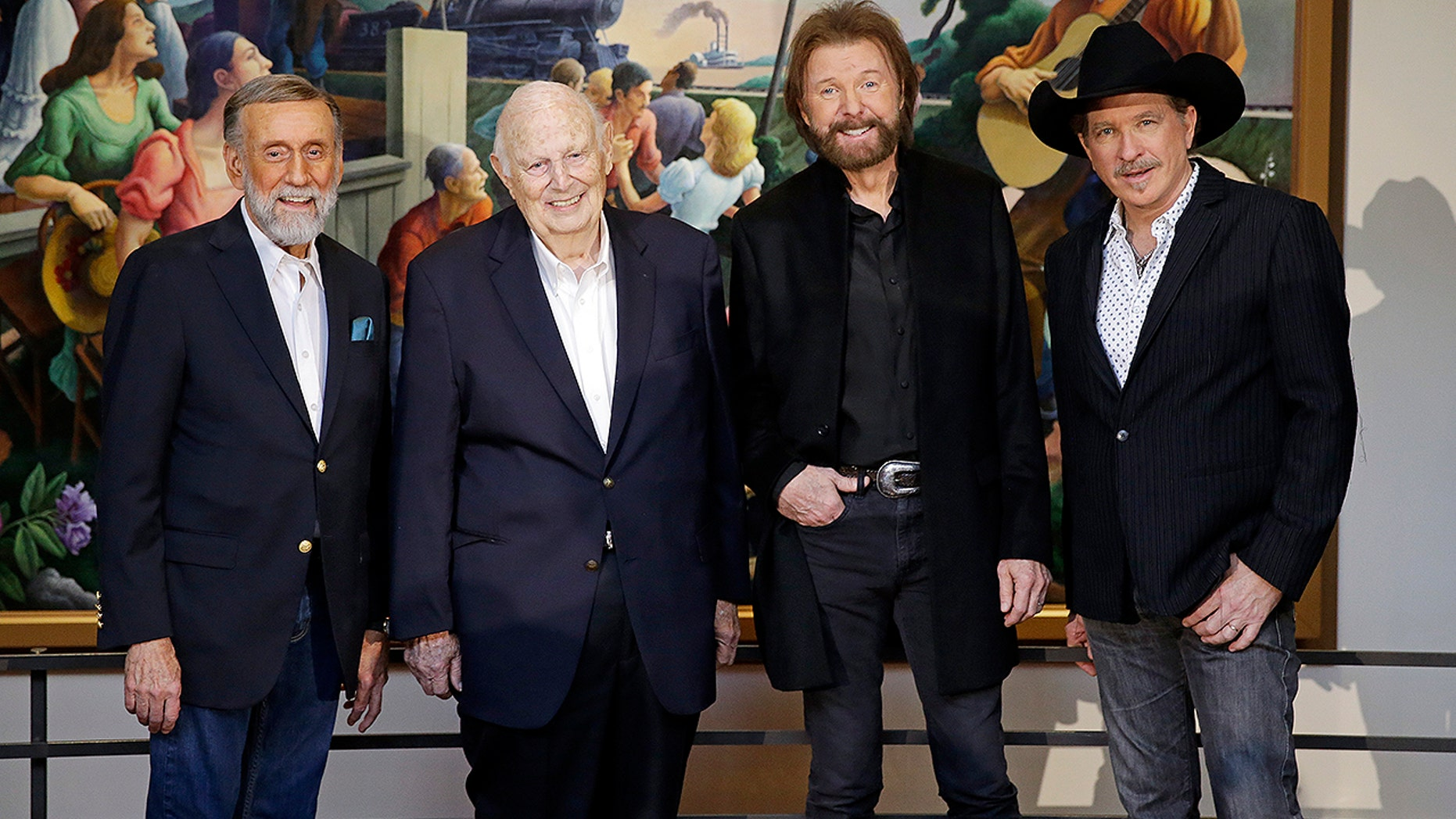 Ray Stevens, Jerry Bradley, Ronnie Dunn, and Kix Brooks pose at a press conference announcing that they will be inducted into the Country Music Hall of Fame Monday, March 18, 2019, in Nashville, Tenn.