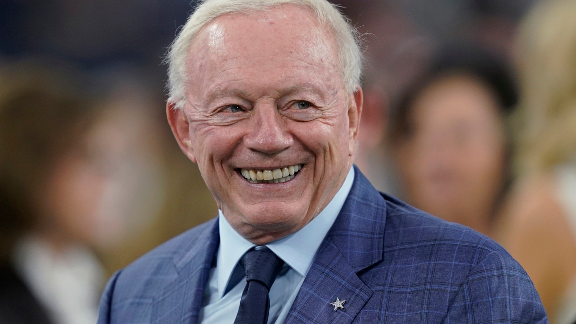 FILE 2018: Dallas Cowboys owner Jerry Jones smiles before the team's NFL football game against the Houston Texans in Houston.